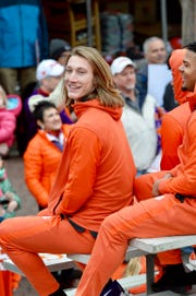Trevor Lawrence during the championship parade in Clemson.