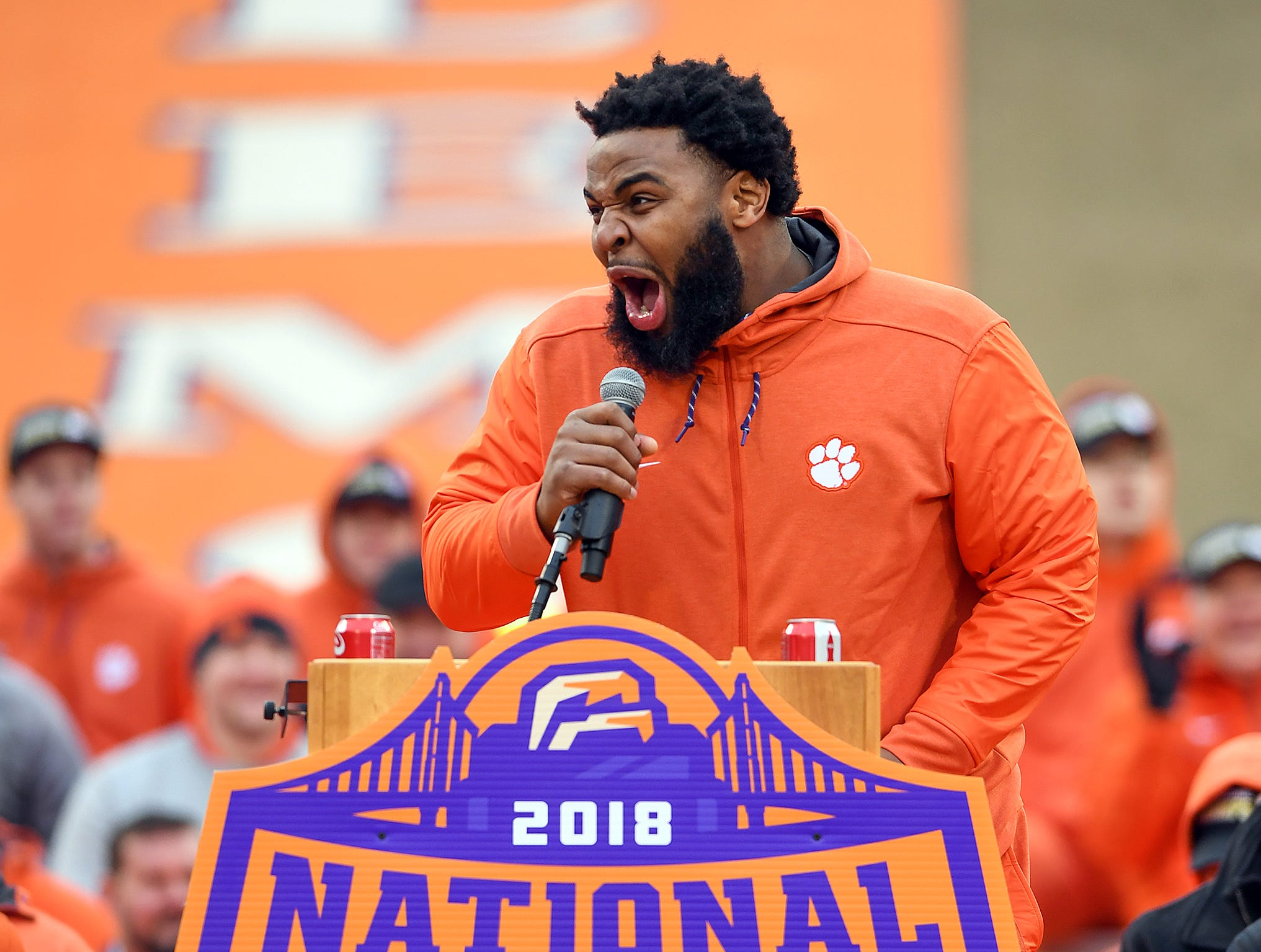 Clemson senior defensive lineman Christian Wilkins has some fun while speaking during the Tigers National Championship celebration Saturday, January 12, 2019 at Clemson's Memorial Stadium.
