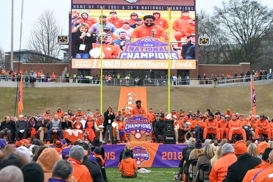 Clemson senior linebacker Kendall Joseph speaks during the Tigers National Championship celebration Saturday, January 12, 2019 at Clemson's Memorial Stadium.