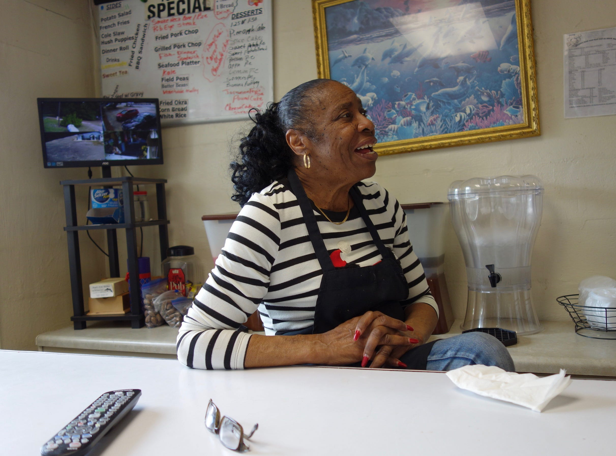 Geraldine Ford, a retired teacher who owns Paul's Fish Market, the only restaurant left in tiny Nichols, is seen in 2018.