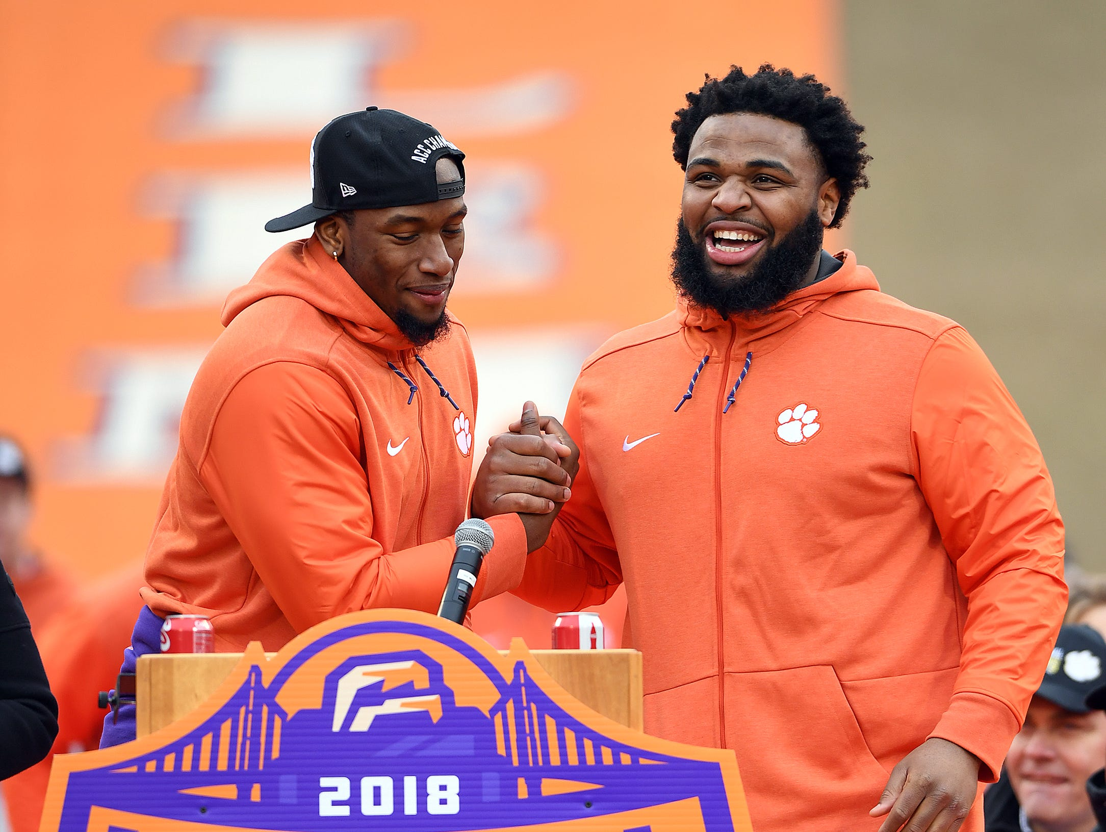 Clemson defensive linemen Clelin Ferrell, left, and Christian Wilkins during the Tigers National Championship celebration Saturday, January 12, 2019 at Clemson's Memorial Stadium.