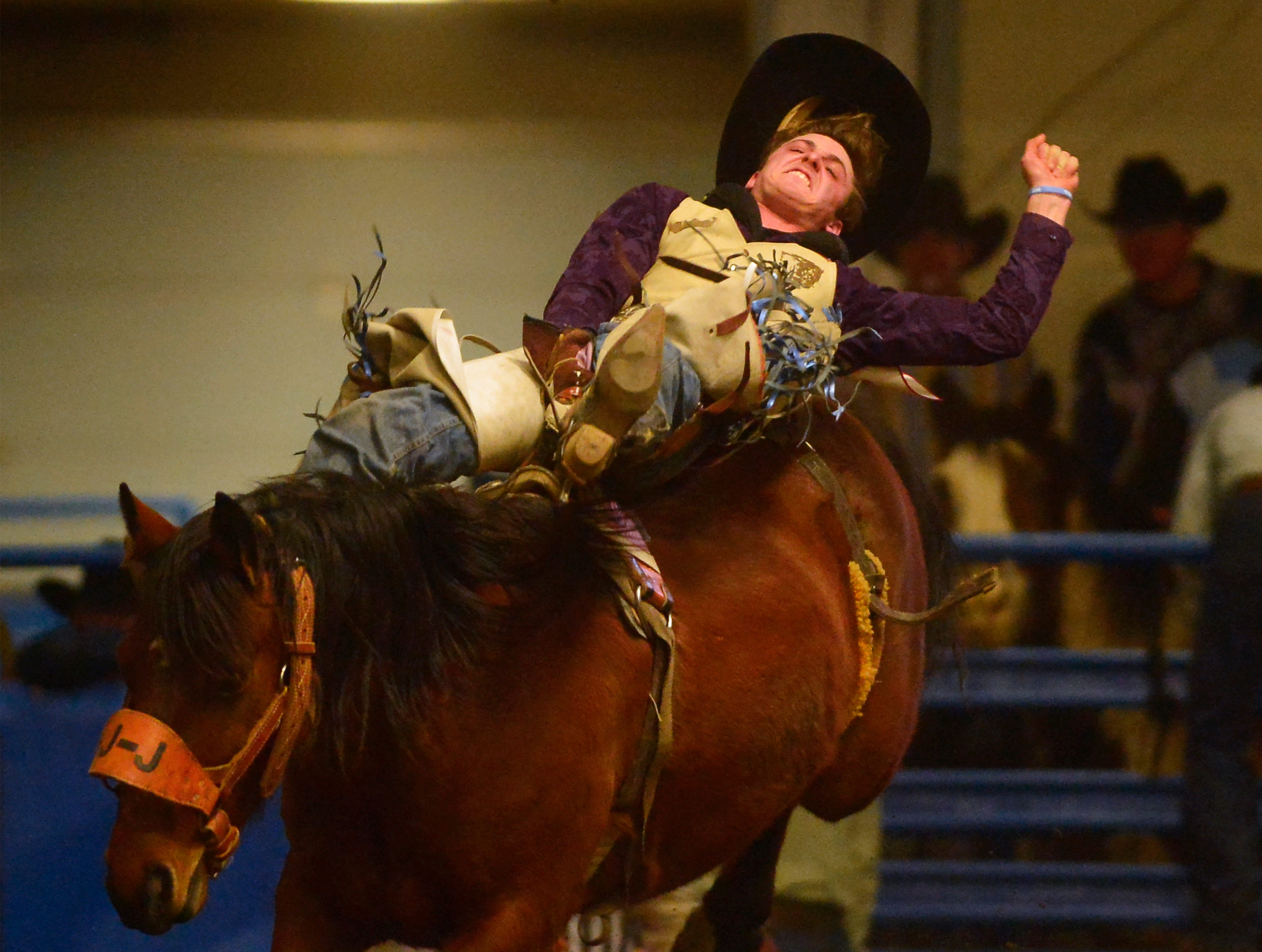 Shawn Perkins makes an 80 point ride in the bareback riding event during the Montana Pro Rodeo Circuit Finals in the Pacific Steel and Recycling Four Seasons Arena, Friday, January 11, 2019.