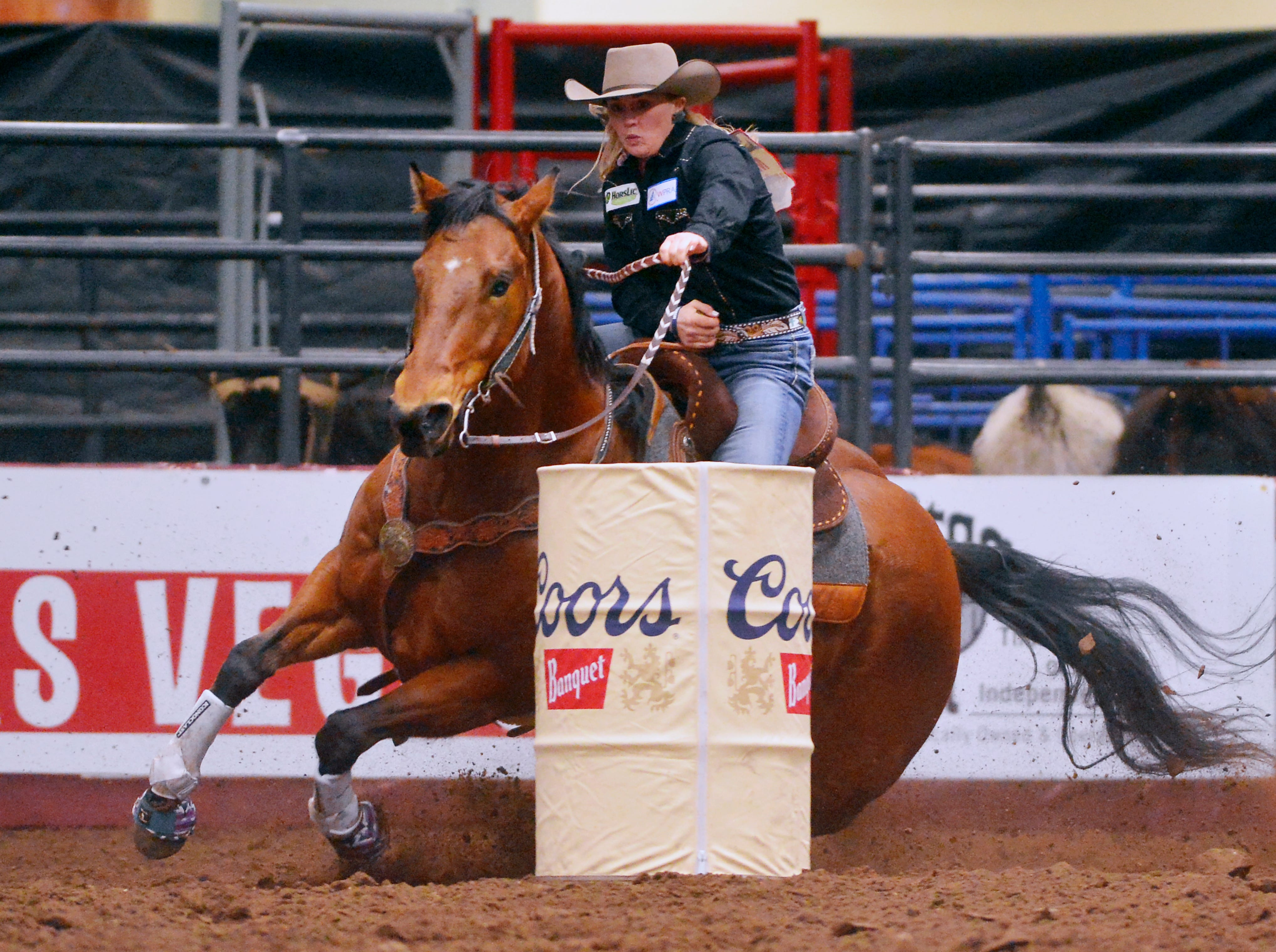 Tia Murphy rides in the barrel racing event during the Montana Pro Rodeo Circuit Finals in the Pacific Steel and Recycling Four Seasons Arena, Friday, January 11, 2019.