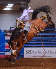 Jesse Kruse, shown making an 81 point ride in the saddle bronc event on Friday, went on to win the average and the year-end circuit title as the Montana Pro Rodeo Circuit Finals concluded Sundat at the Pacific Steel and Recycling Four Seasons Arena.