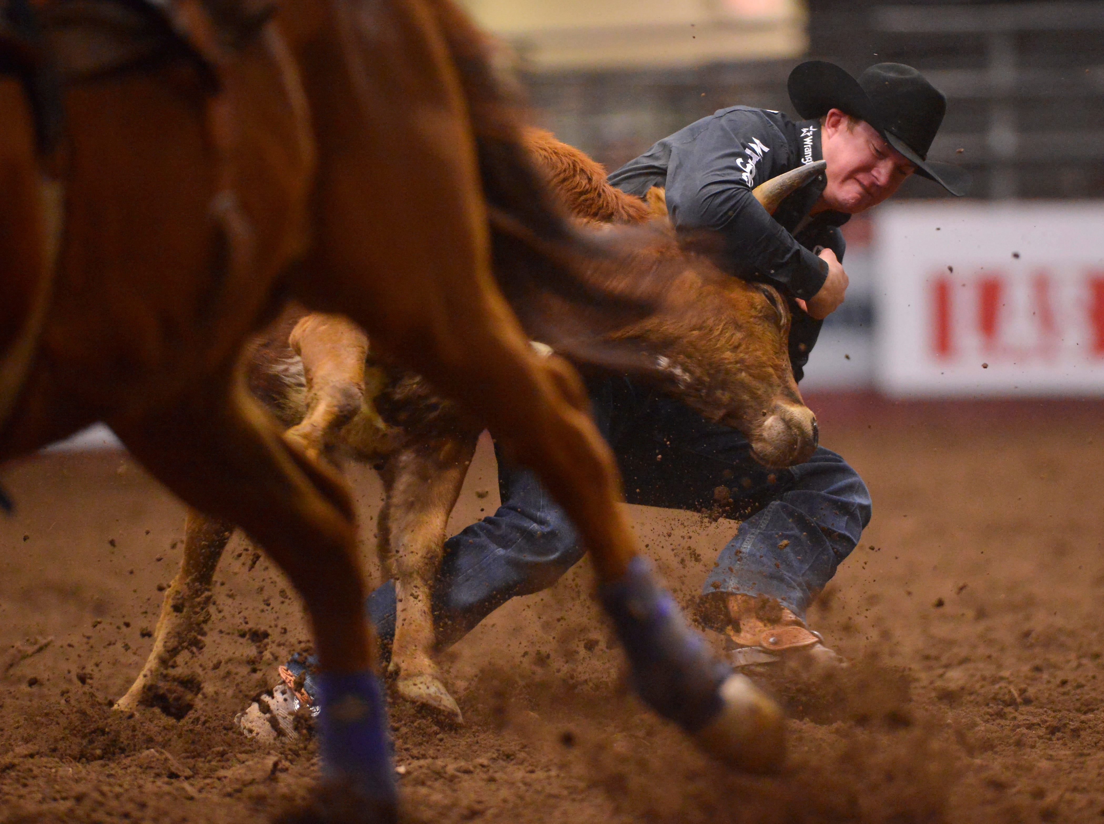 Ty Erickson competes in the steer wrestling event during the Montana Pro Rodeo Circuit Finals in the Pacific Steel and Recycling Four Seasons Arena, Friday, January 11, 2019.