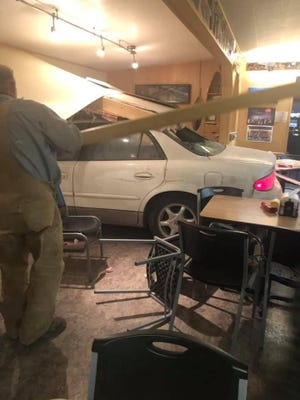 A car crashed into the Panther Cafe in Valier on Friday evening.