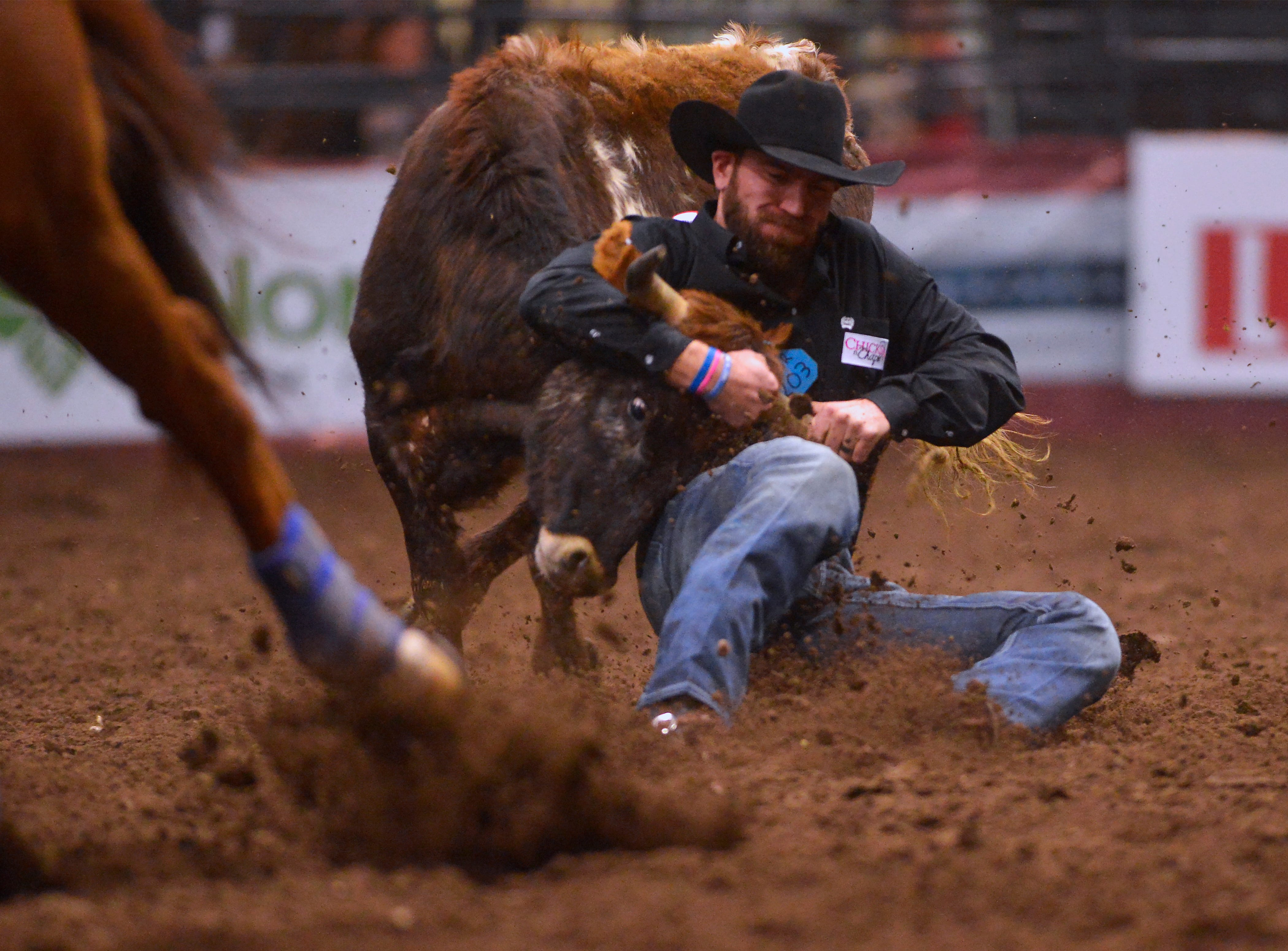 Bridger Chambers competes in the steer wrestling event during the Montana Pro Rodeo Circuit Finals in the Pacific Steel and Recycling Four Seasons Arena, Friday, January 11, 2019.