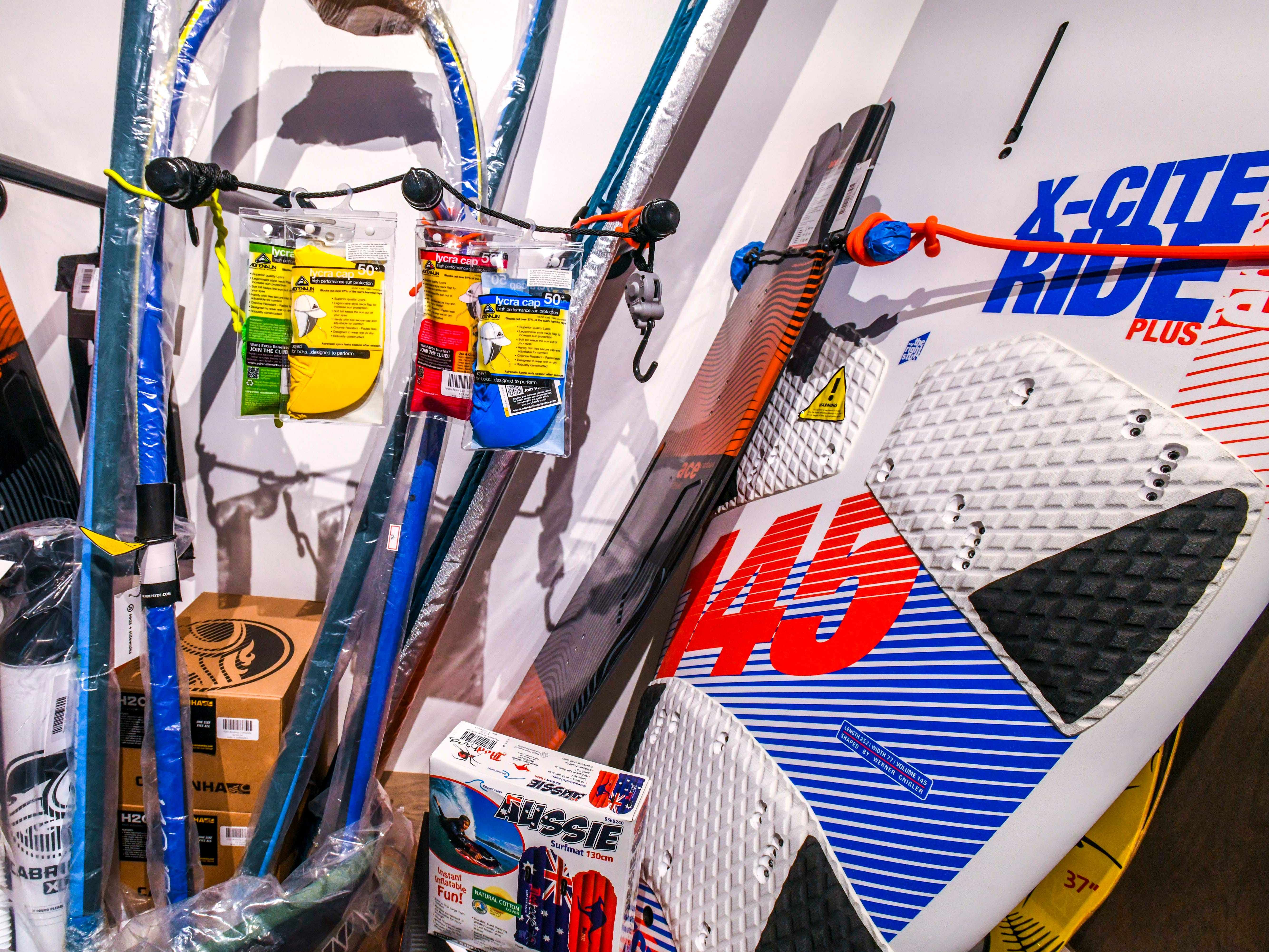 A collection of water sport equipment could be found at the Seas and Sidewalks store at the Micronesia Mall on Friday, Jan. 11, 2019. Kiteboarding, windsurfing and other aquatic sport accessories could be found at the business, which opened it's door to the public last year in November.
