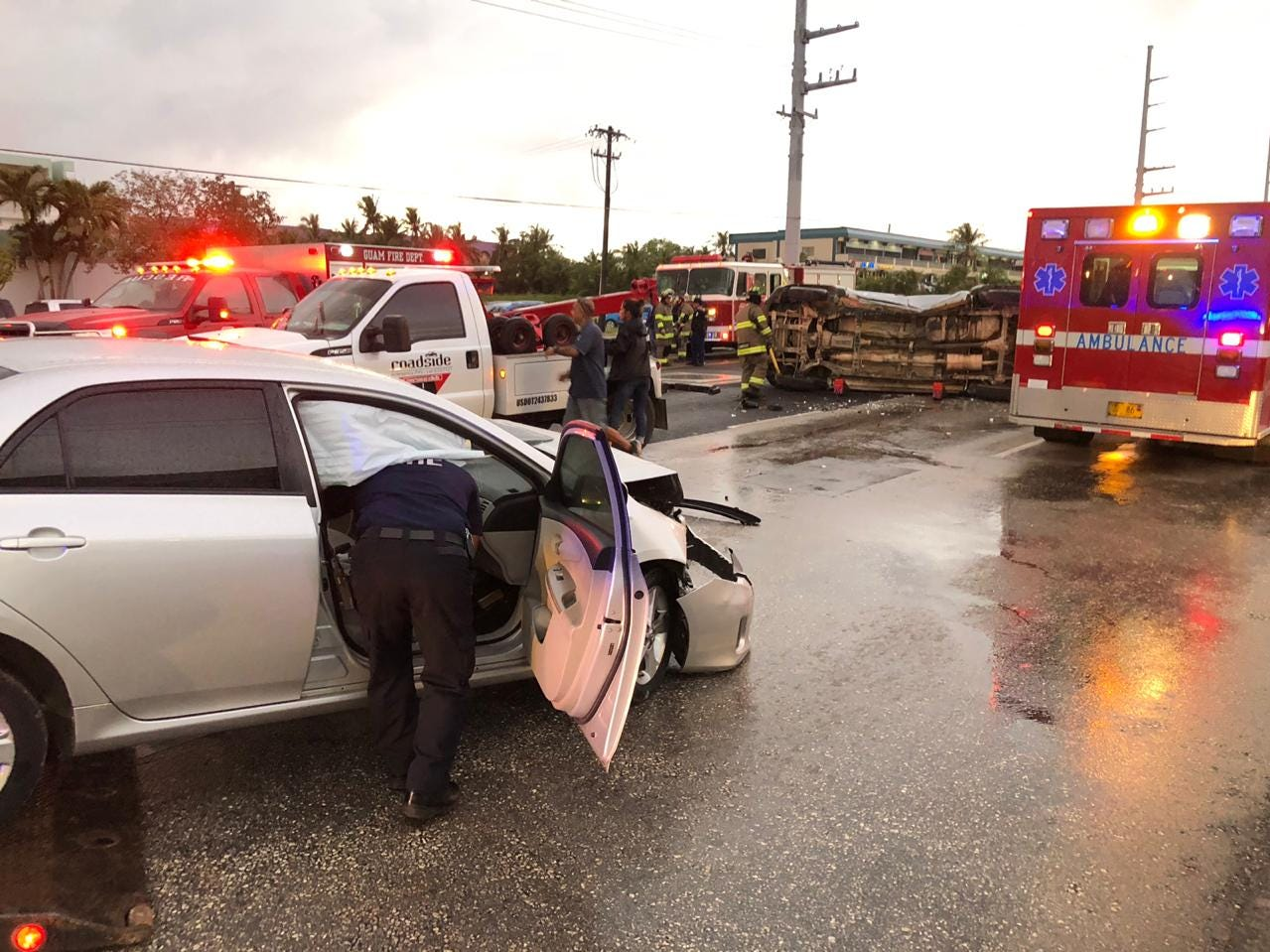 Two car collision on Route 16 near Pure Living Water store on Jan. 12, 2019.