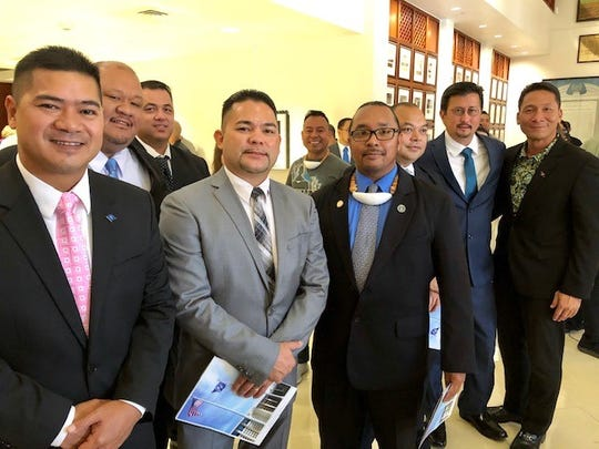 Members of the CNMI House of Representatives and Guam Gov. Lou Leon Guerrero's chief of staff, Tony Babauta, right, in the Guam Congress Building for the Jan. 7, 2019 inauguration of the 35th Guam Legislature. Guam officials led by Leon Guerrero will also be on Saipan for the inauguration of CNMI elected officials on Jan. 14, 2019.