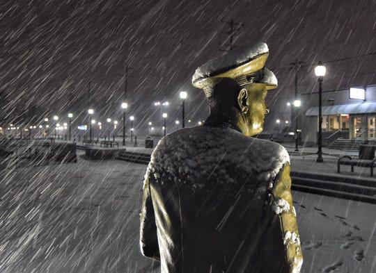Admiral Husband E. Kimmel keeps a steadfast watch in the snow and sleet.