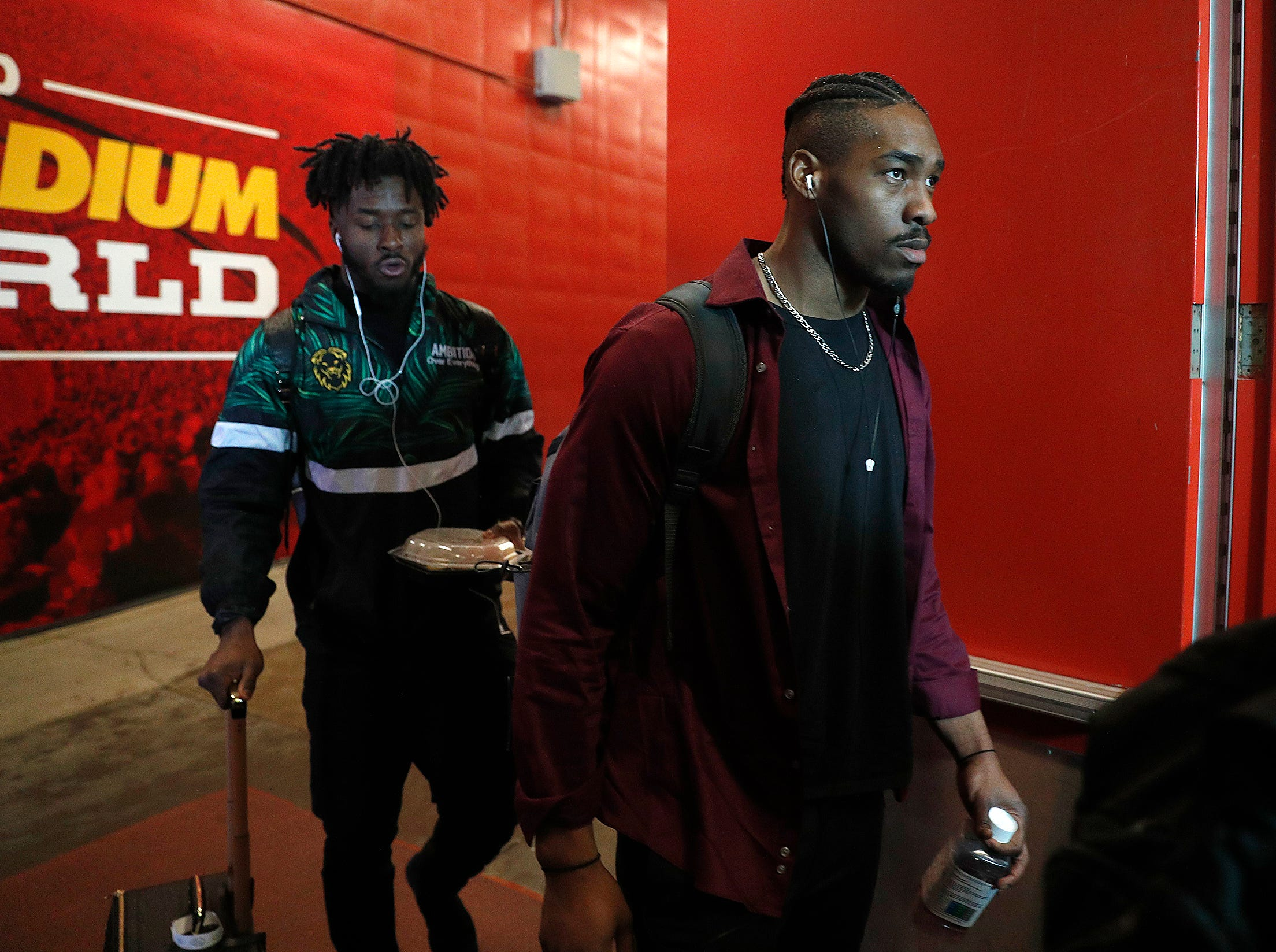 Indianapolis Colts defensive tackle Al-Quadin Muhammad (97) and the Indianapolis Colts arrive for their game against the Kansas City Chiefs at Arrowhead Stadium in Kansas City, MO., on Saturday, Jan. 12, 2019.