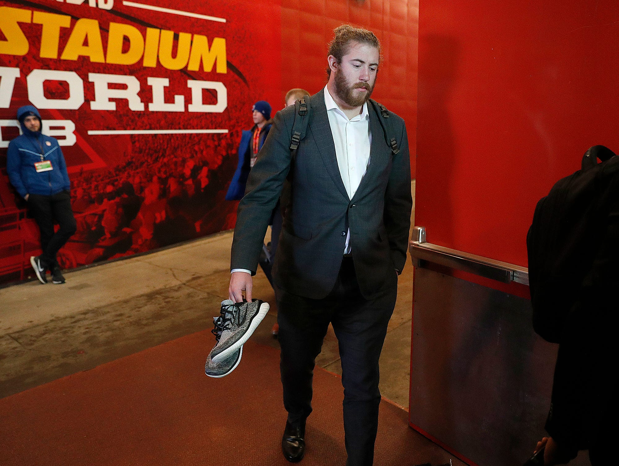 Indianapolis Colts offensive tackle Joe Haeg (73) and the Indianapolis Colts arrive for their game against the Kansas City Chiefs at Arrowhead Stadium in Kansas City, MO., on Saturday, Jan. 12, 2019.