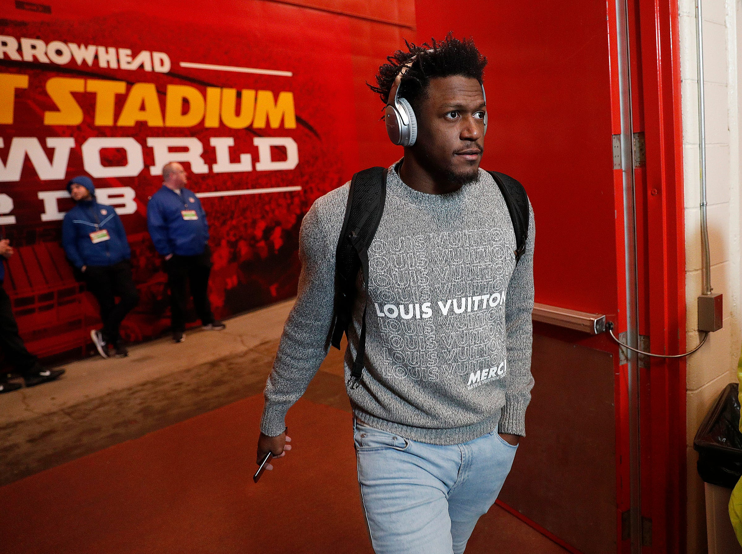 Indianapolis Colts running back Marlon Mack (25) and the Indianapolis Colts arrive for their game against the Kansas City Chiefs at Arrowhead Stadium in Kansas City, MO., on Saturday, Jan. 12, 2019.