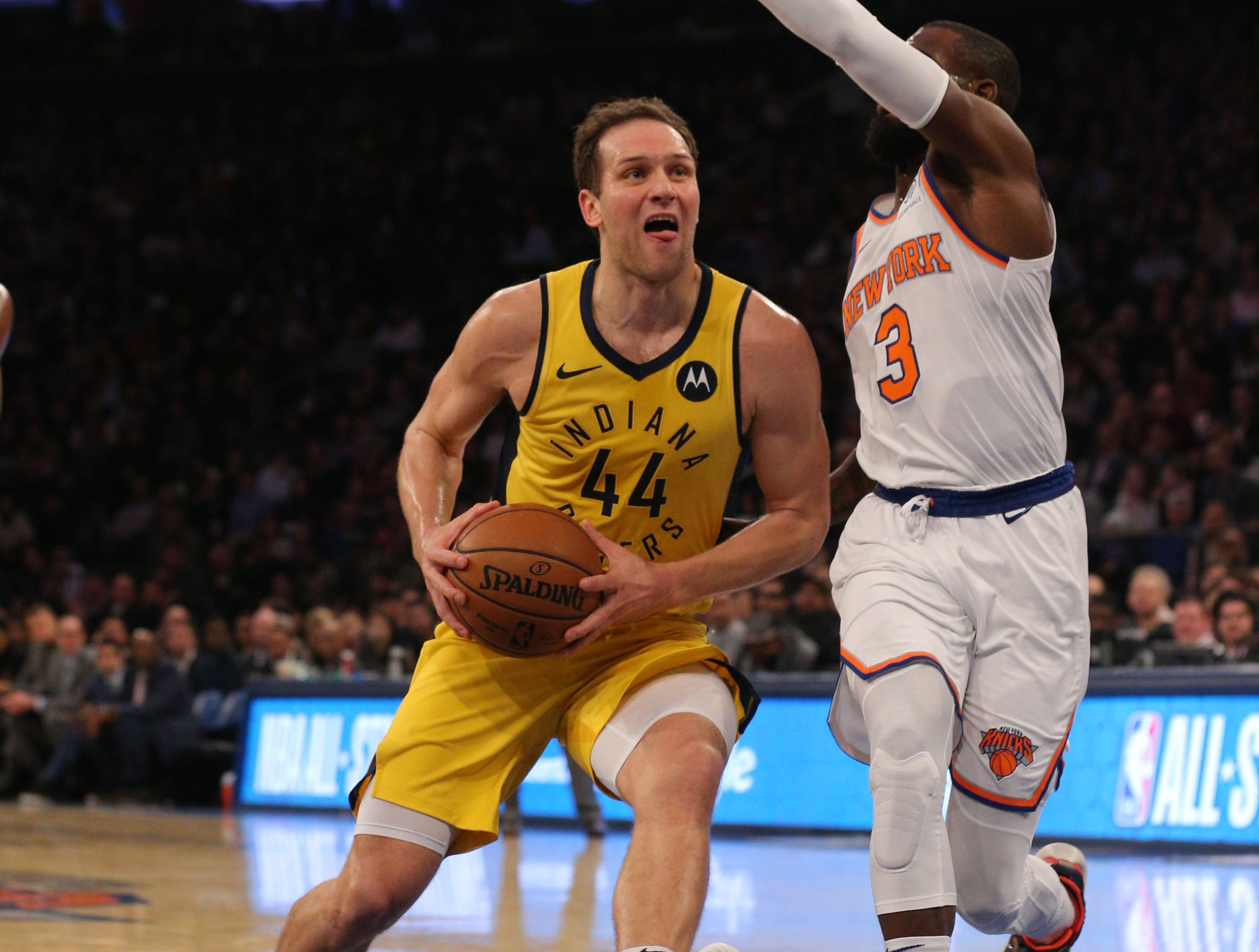 Jan 11, 2019; New York, NY, USA; Indiana Pacers forward Bojan Bogdanovic (44) drives to the basket against New York Knicks guard Tim Hardaway Jr. (3) during the first quarter at Madison Square Garden. Mandatory Credit: Brad Penner-USA TODAY Sports