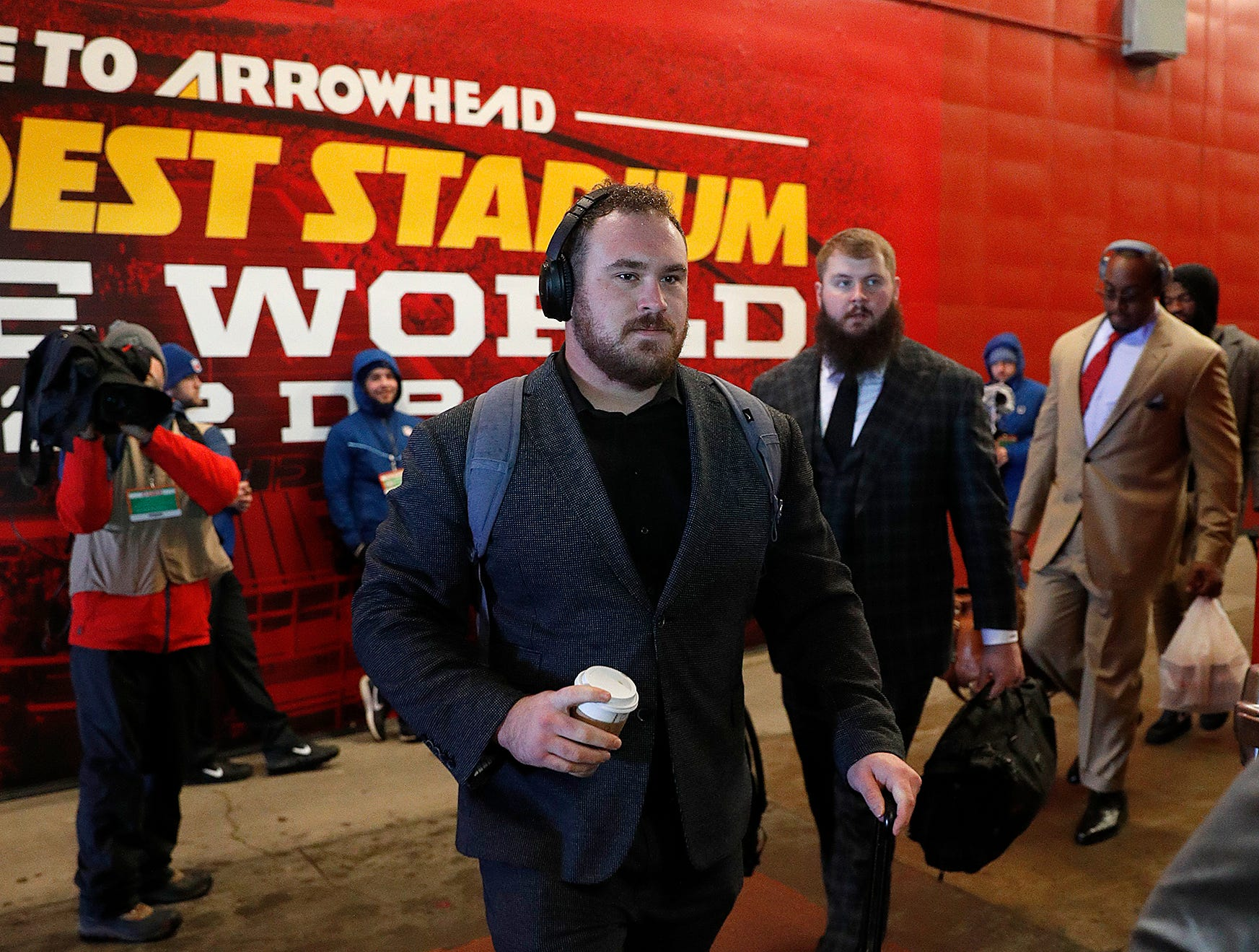 Indianapolis Colts offensive guard Evan Boehm (67) and the Indianapolis Colts arrive for their game against the Kansas City Chiefs at Arrowhead Stadium in Kansas City, MO., on Saturday, Jan. 12, 2019.