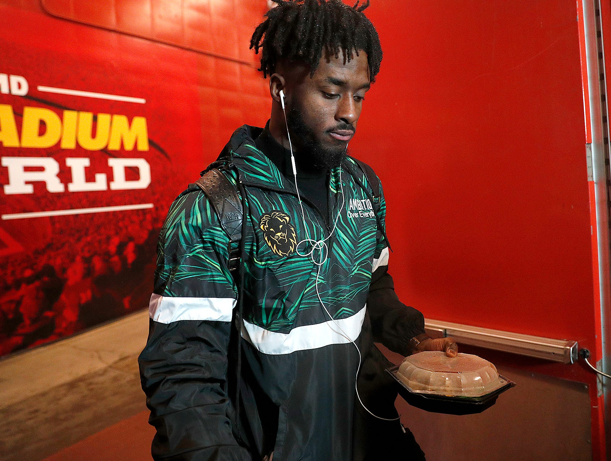 Indianapolis Colts defensive end Kemoko Turay (57) and the Indianapolis Colts arrive for their game against the Kansas City Chiefs at Arrowhead Stadium in Kansas City, MO., on Saturday, Jan. 12, 2019.