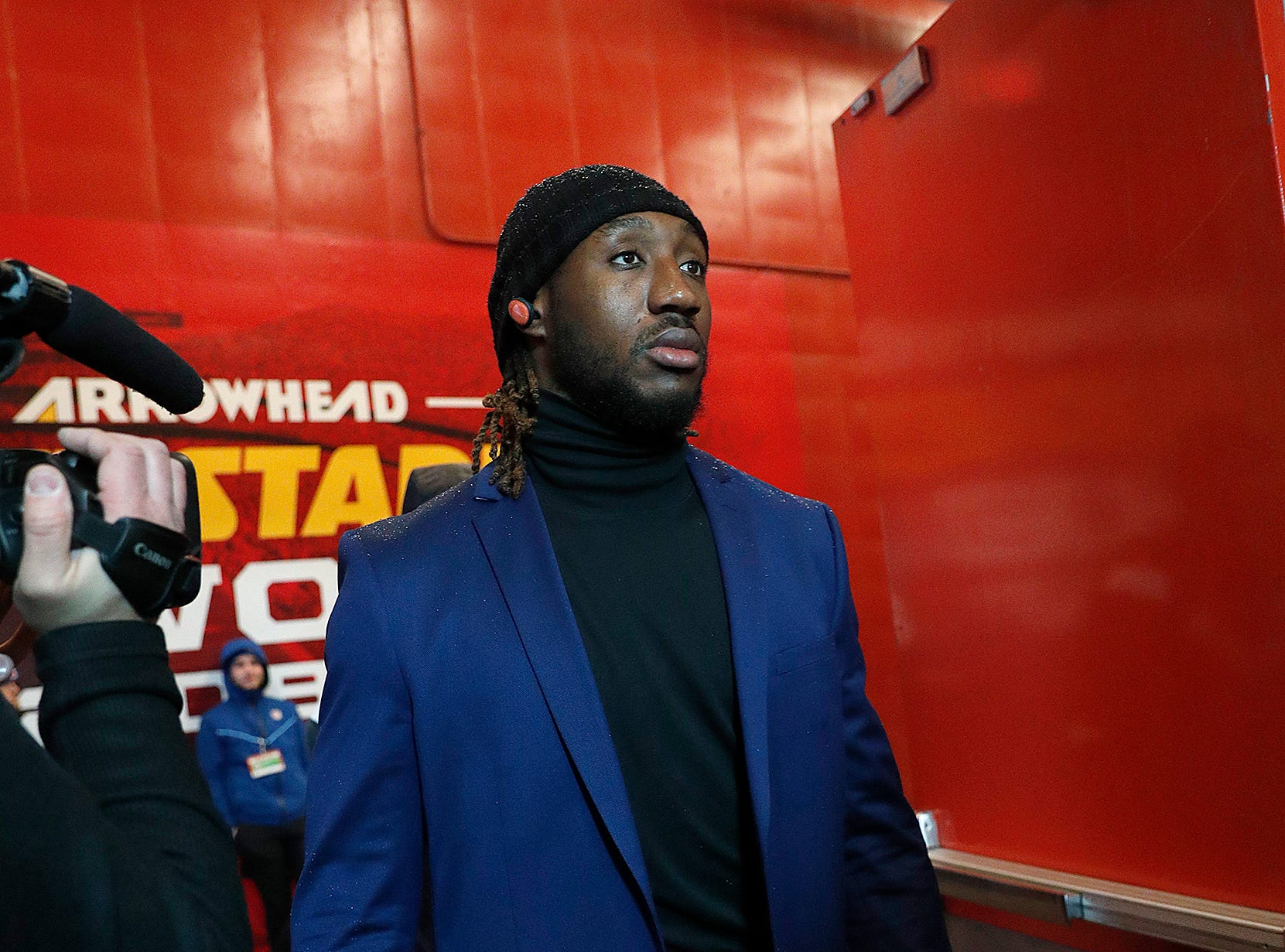 Indianapolis Colts tight end Mo Alie-Cox (81) and the Indianapolis Colts arrive for their game against the Kansas City Chiefs at Arrowhead Stadium in Kansas City, MO., on Saturday, Jan. 12, 2019.