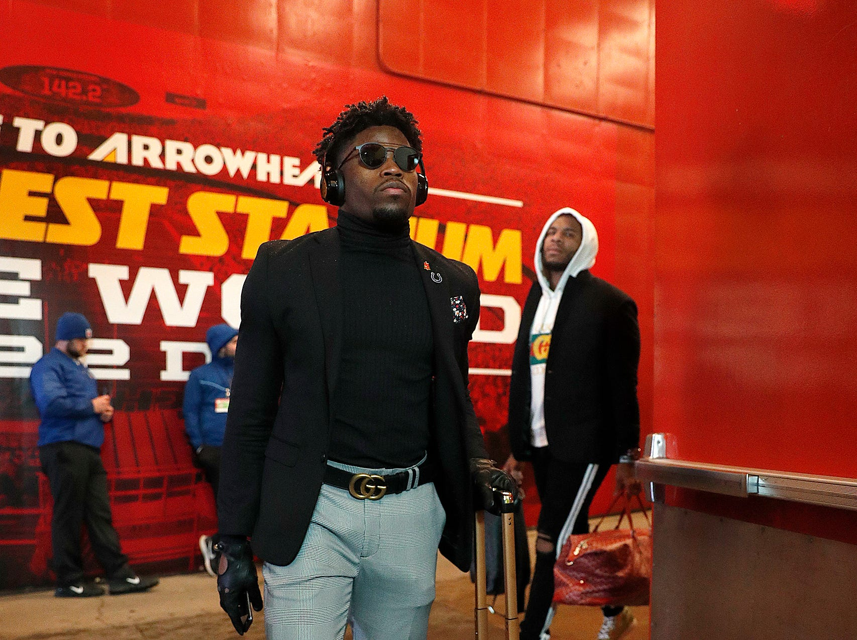 Indianapolis Colts cornerback Kenny Moore (23) and the Indianapolis Colts arrive for their game against the Kansas City Chiefs at Arrowhead Stadium in Kansas City, MO., on Saturday, Jan. 12, 2019.