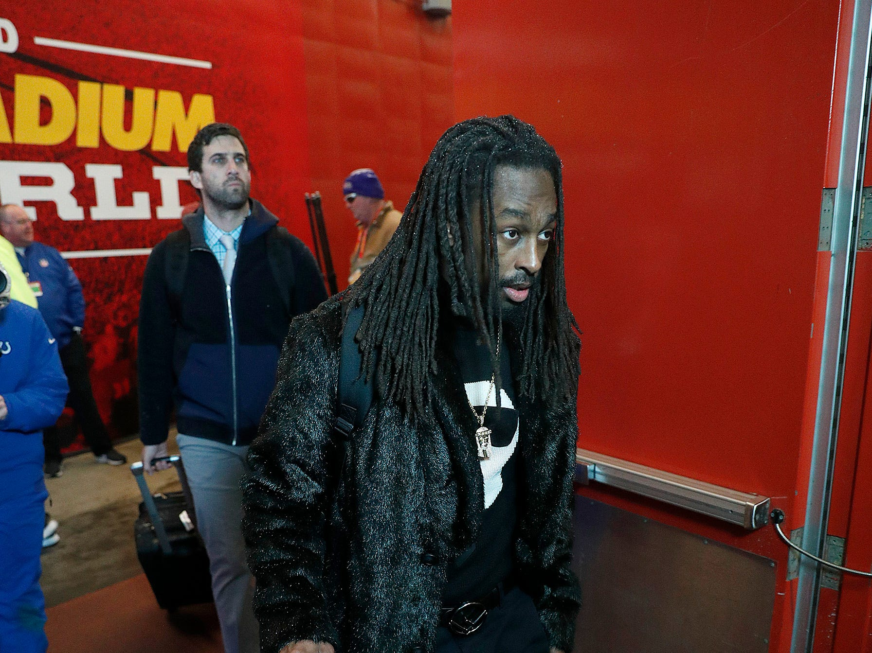 Indianapolis Colts wide receiver T.Y. Hilton (13) and the Indianapolis Colts arrive for their game against the Kansas City Chiefs at Arrowhead Stadium in Kansas City, MO., on Saturday, Jan. 12, 2019.