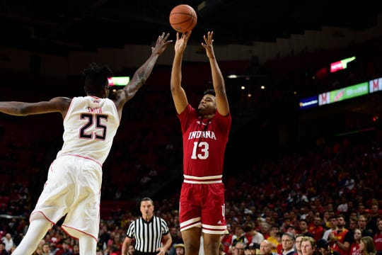 Injuries are hurting IU.  Juwan Morgan (shown shooting agains Maryland's Jalen Smith) has been playing almost eight percent more minutes in Big Ten play, with his offensive rebounding and block percentages down.