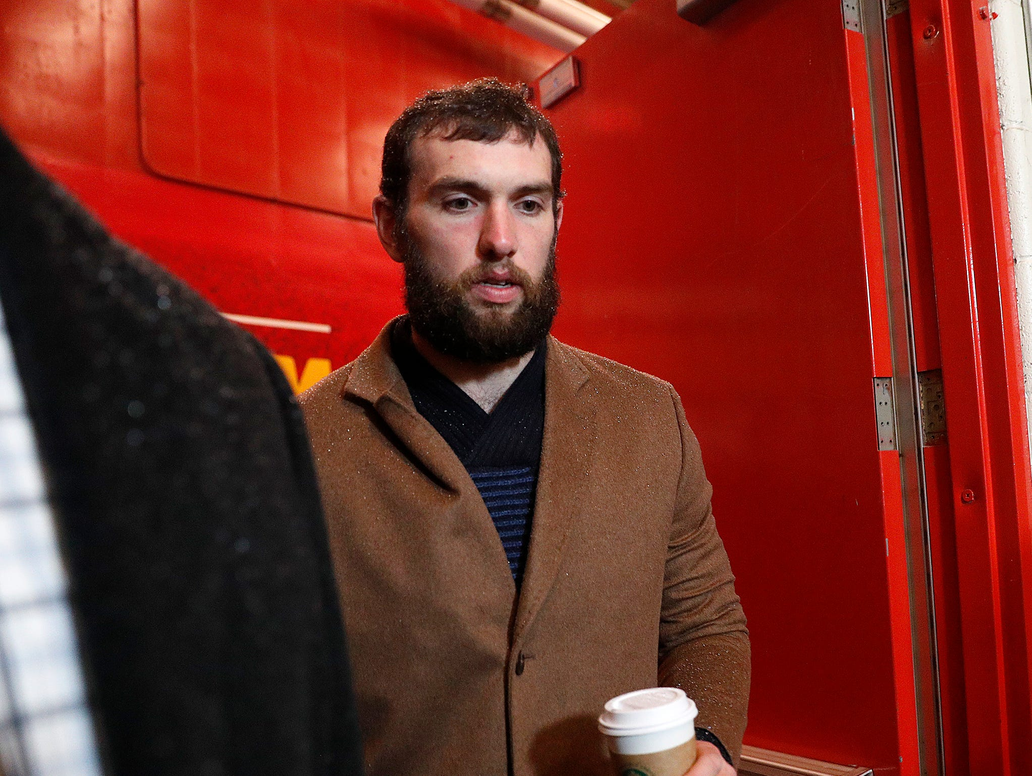 Indianapolis Colts quarterback Andrew Luck (12) and the Indianapolis Colts arrive for their game against the Kansas City Chiefs at Arrowhead Stadium in Kansas City, MO., on Saturday, Jan. 12, 2019.