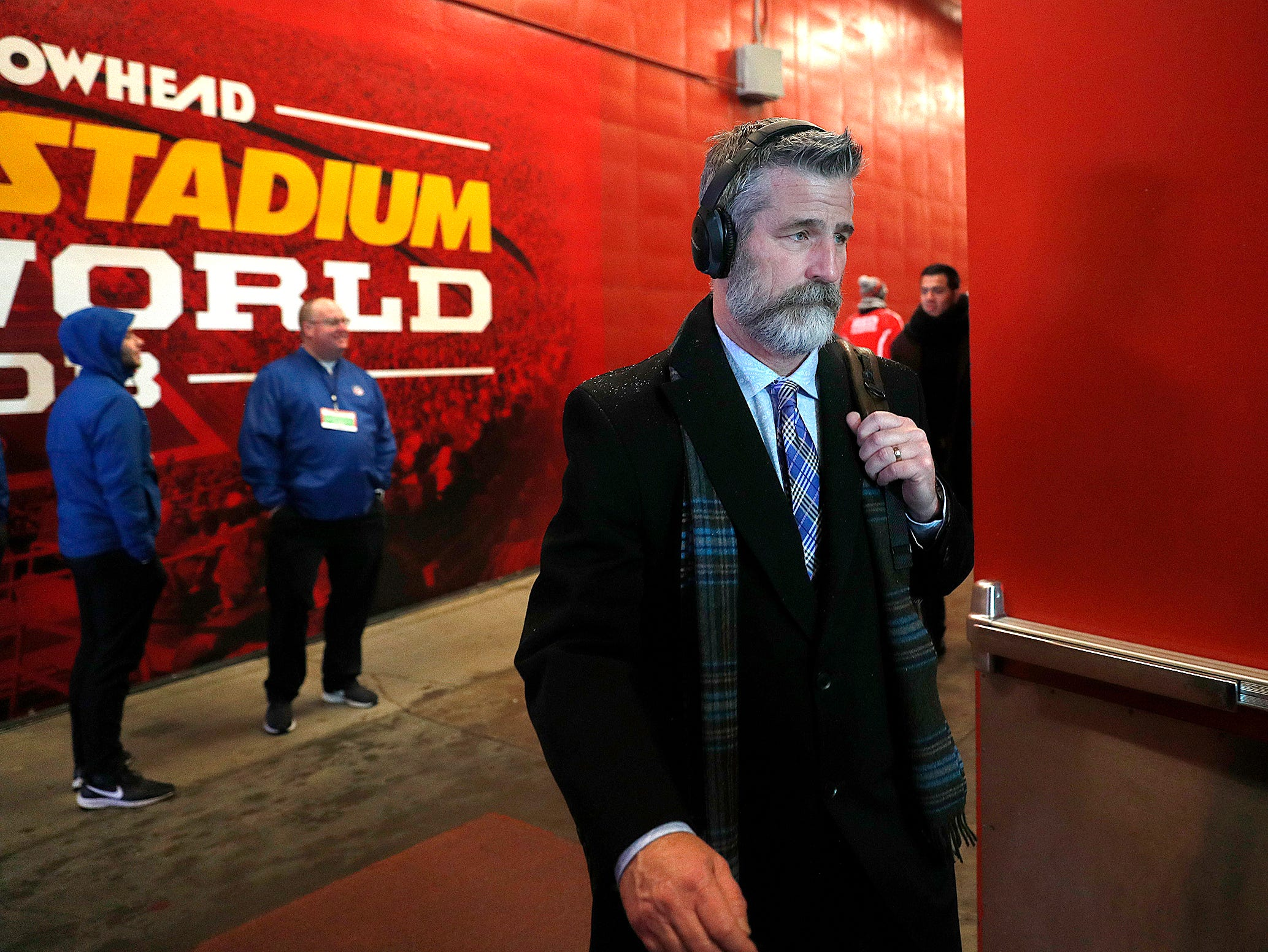 Indianapolis Colts head coach Frank Reich and the Indianapolis Colts arrive for their game against the Kansas City Chiefs at Arrowhead Stadium in Kansas City, MO., on Saturday, Jan. 12, 2019.