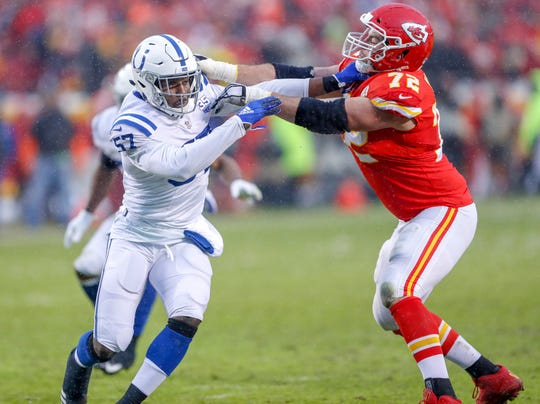 Indianapolis Colts defensive end Kemoko Turay (57) is blocked by Kansas City Chiefs offensive tackle Eric Fisher (72) in the second quarter at Arrowhead Stadium in Kansas City, Mo., on Saturday, Jan. 12, 2019.