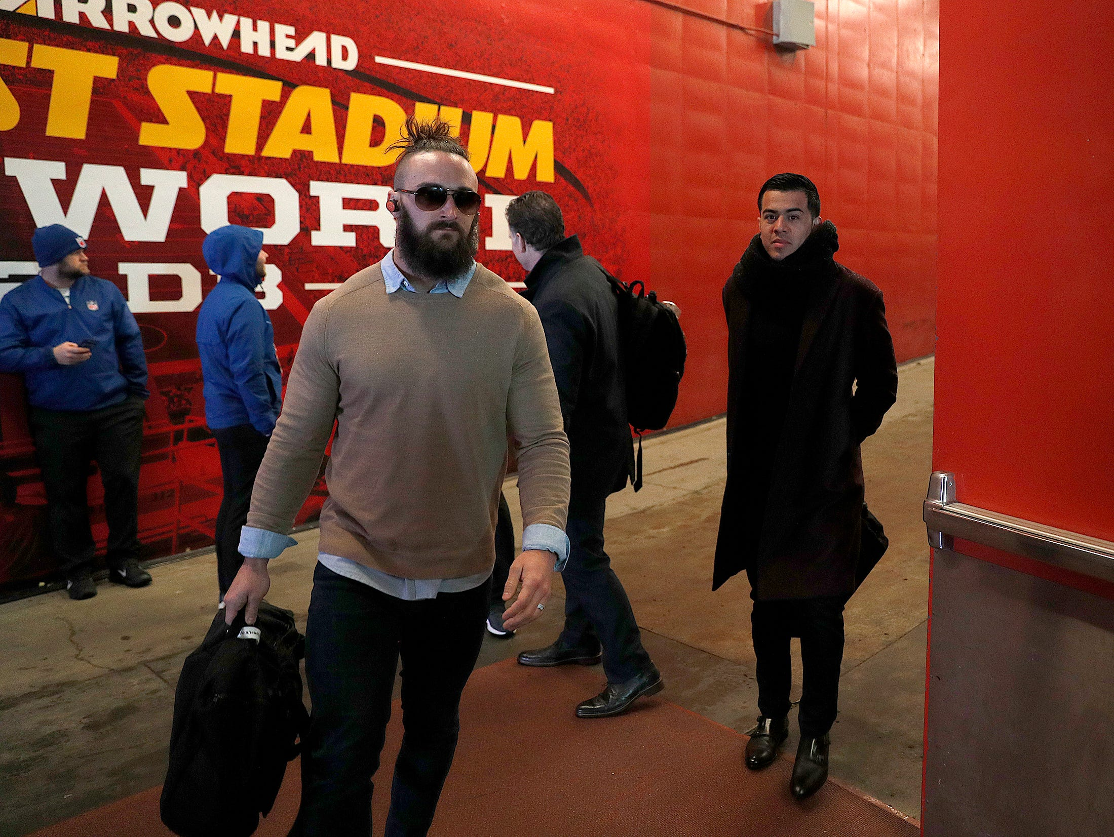 Indianapolis Colts long snapper Luke Rhodes (46) and s punter Rigoberto Sanchez (2) and the Indianapolis Colts arrive for their game against the Kansas City Chiefs at Arrowhead Stadium in Kansas City, MO., on Saturday, Jan. 12, 2019.
