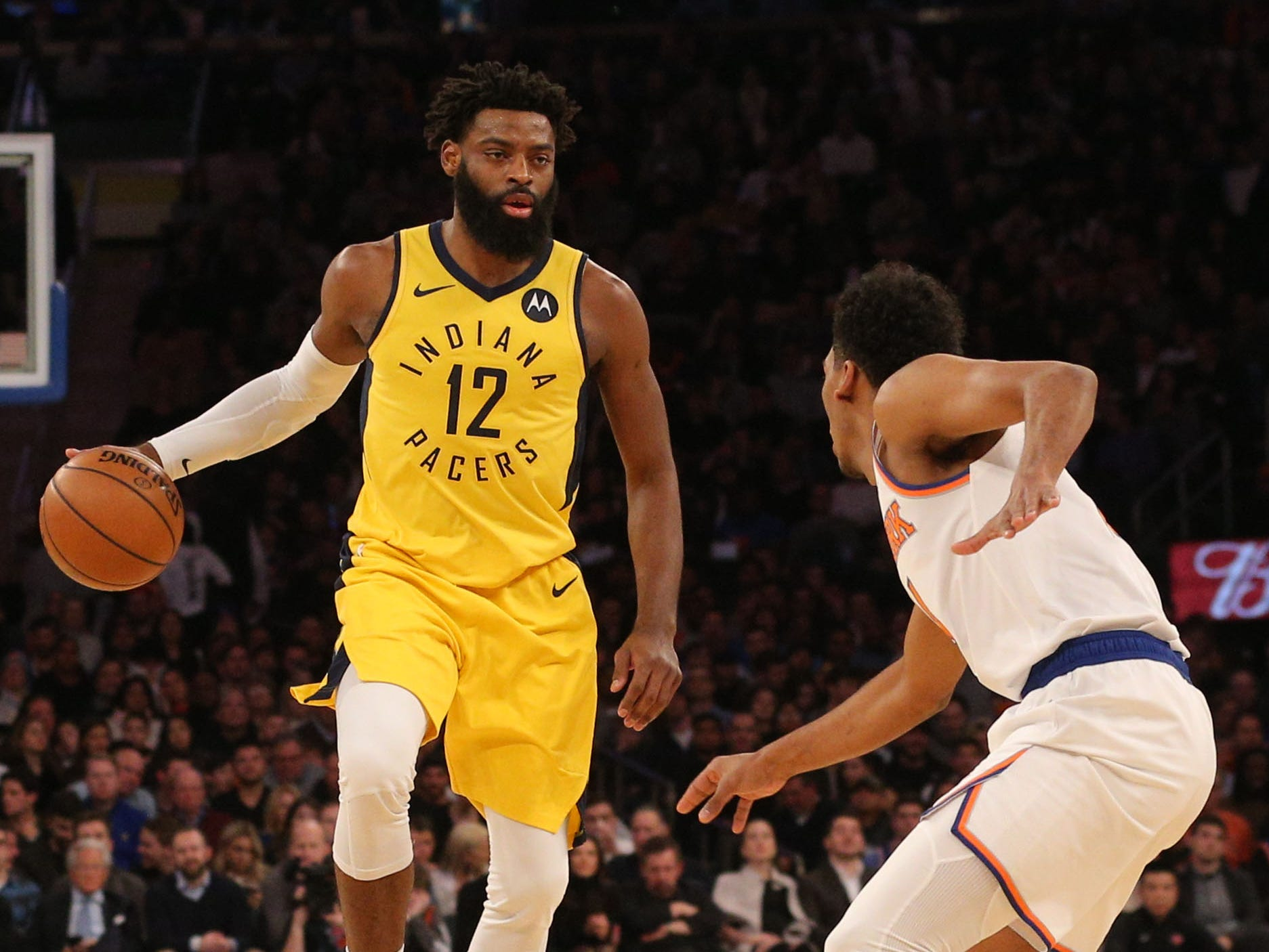 Jan 11, 2019; New York, NY, USA; Indiana Pacers guard Tyreke Evans (12) controls the ball against New York Knicks guard Allonzo Trier (14) during the first quarter at Madison Square Garden. Mandatory Credit: Brad Penner-USA TODAY Sports