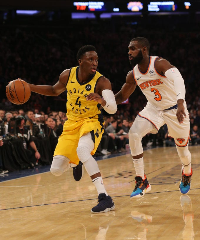 Jan 11, 2019; New York, NY, USA; Indiana Pacers guard Victor Oladipo (4) controls the ball against New York Knicks guard Tim Hardaway Jr. (3) during the first quarter at Madison Square Garden. Mandatory Credit: Brad Penner-USA TODAY Sports
