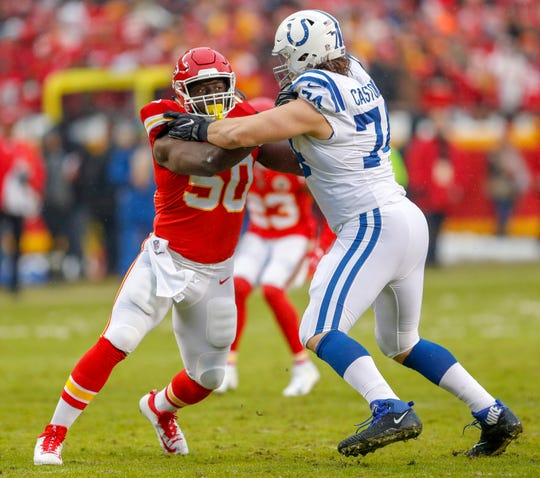 Indianapolis Colts offensive tackle Anthony Castonzo (74) blocks against Kansas City Chiefs outside linebacker Justin Houston (50) at Arrowhead Stadium in Kansas City, Mo., on Saturday, Jan. 12, 2019.