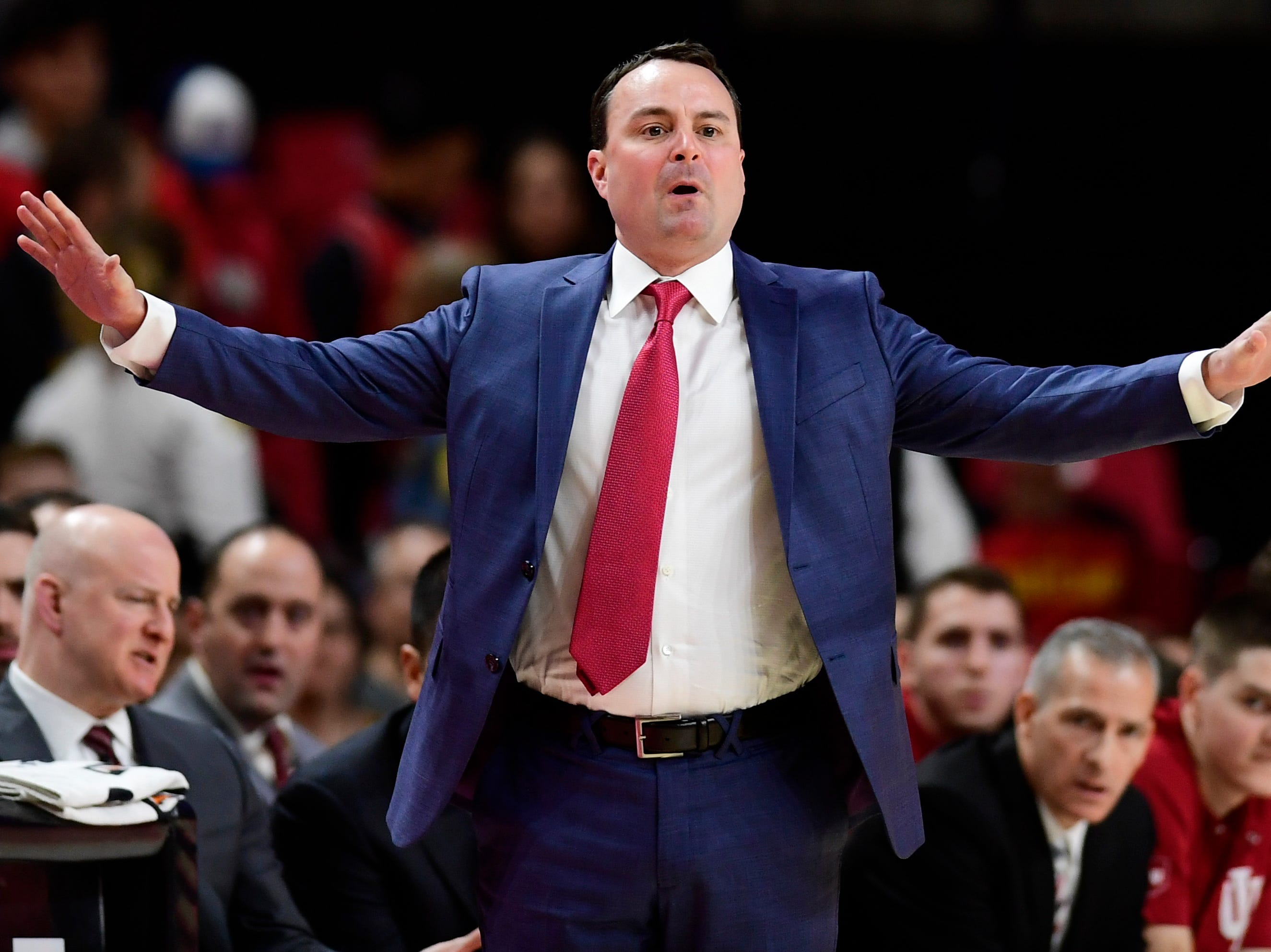 Jan 11, 2019; College Park, MD, USA;  Indiana Hoosiers head coach Archie Miller reacts to play on the court during the first half against the Maryland Terrapins at XFINITY Center. Mandatory Credit: Tommy Gilligan-USA TODAY Sports