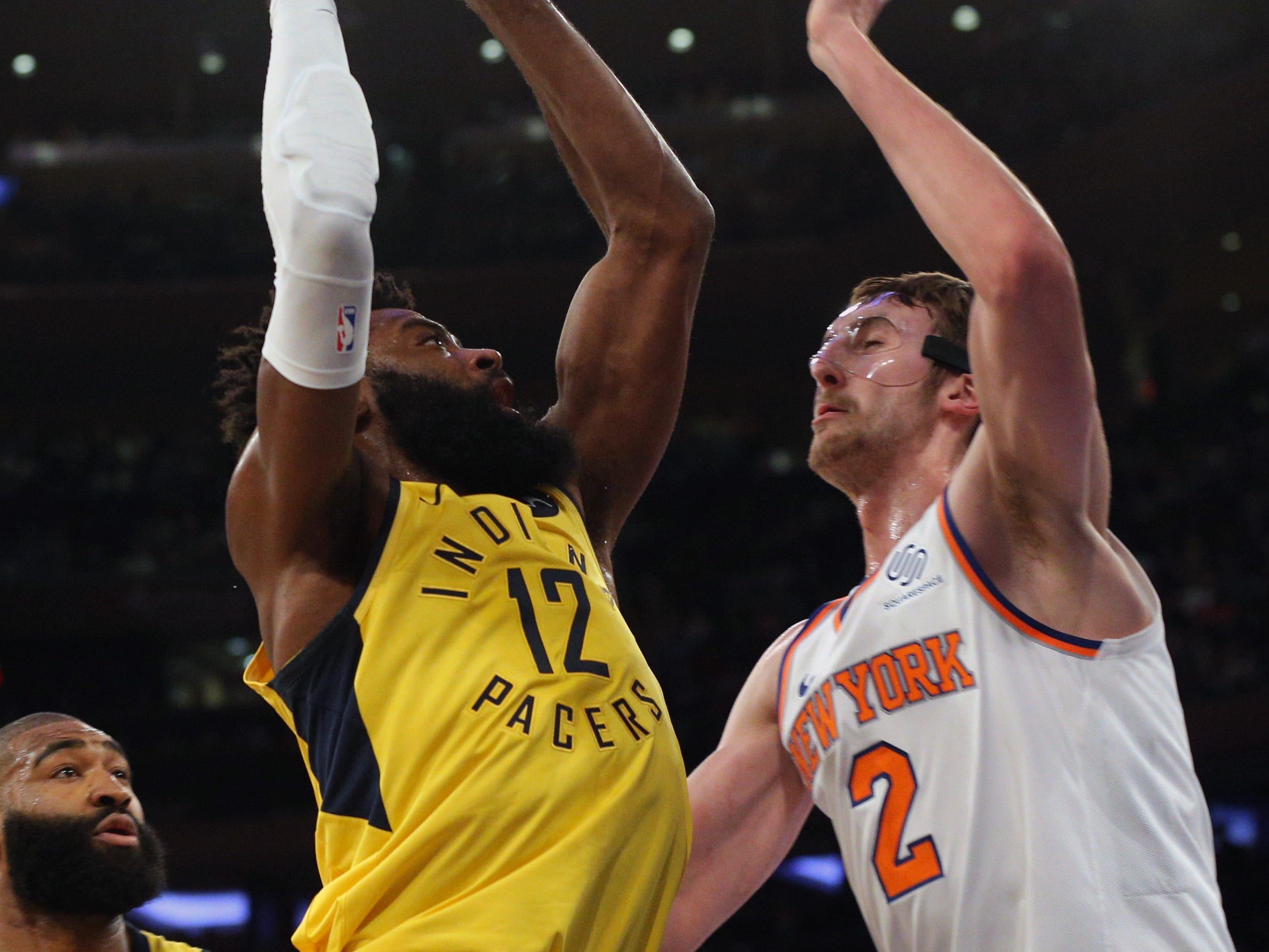 Jan 11, 2019; New York, NY, USA; Indiana Pacers guard Tyreke Evans (12) shoots against New York Knicks forward Luke Kornet (2) during the second quarter at Madison Square Garden. Mandatory Credit: Brad Penner-USA TODAY Sports