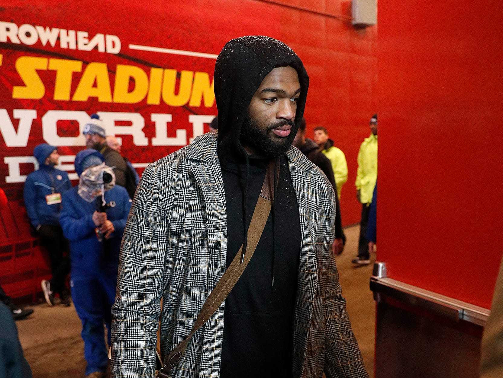 Indianapolis Colts quarterback Jacoby Brissett (7) and the Indianapolis Colts arrive for their game against the Kansas City Chiefs at Arrowhead Stadium in Kansas City, MO., on Saturday, Jan. 12, 2019.