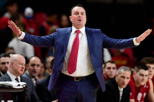 Indiana Hoosiers head coach Archie Miller reacts to first-half play on Friday.