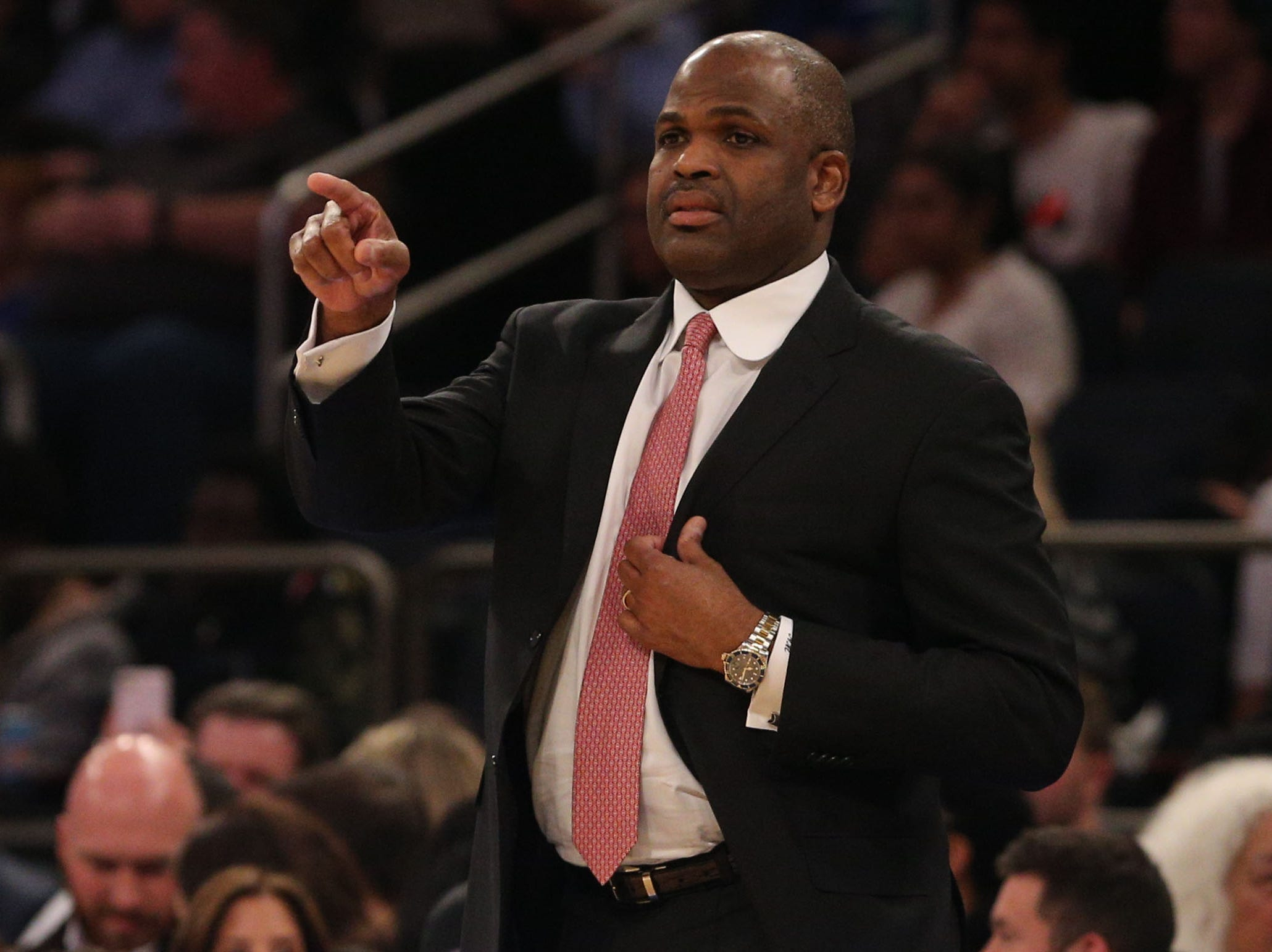 Jan 11, 2019; New York, NY, USA; Indiana Pacers head coach Nate McMillan coaches against the New York Knicks during the first quarter at Madison Square Garden. Mandatory Credit: Brad Penner-USA TODAY Sports