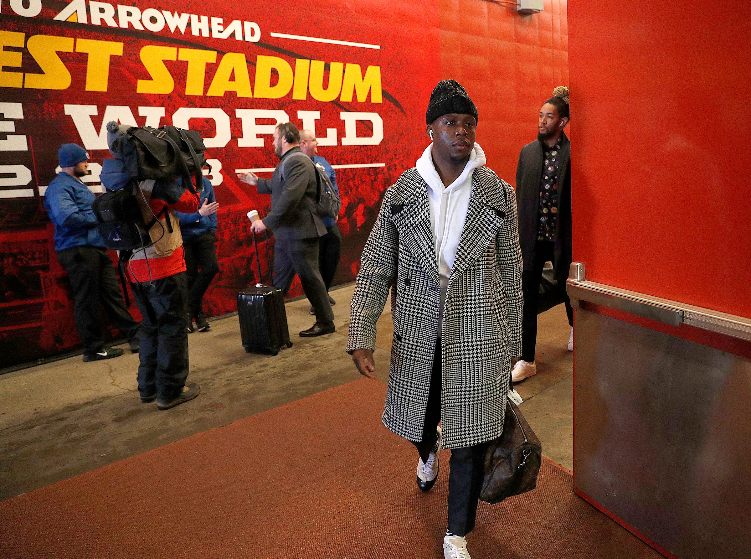 Indianapolis Colts wide receiver Chester Rogers (80) and the Indianapolis Colts arrive for their game against the Kansas City Chiefs at Arrowhead Stadium in Kansas City, MO., on Saturday, Jan. 12, 2019.