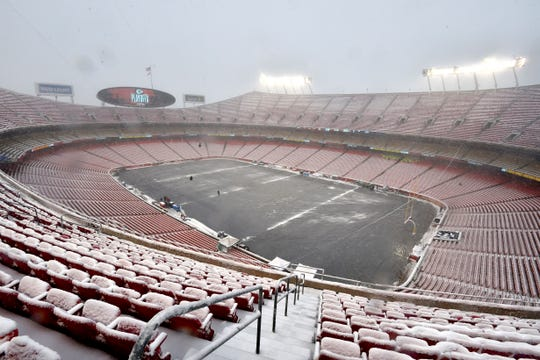 Arrowhead Stadium is covered with snow before an NFL divisional football playoff game between the Kansas City Chiefs and the Indianapolis Colts, in Kansas City, Mo., Saturday, Jan. 12, 2019.