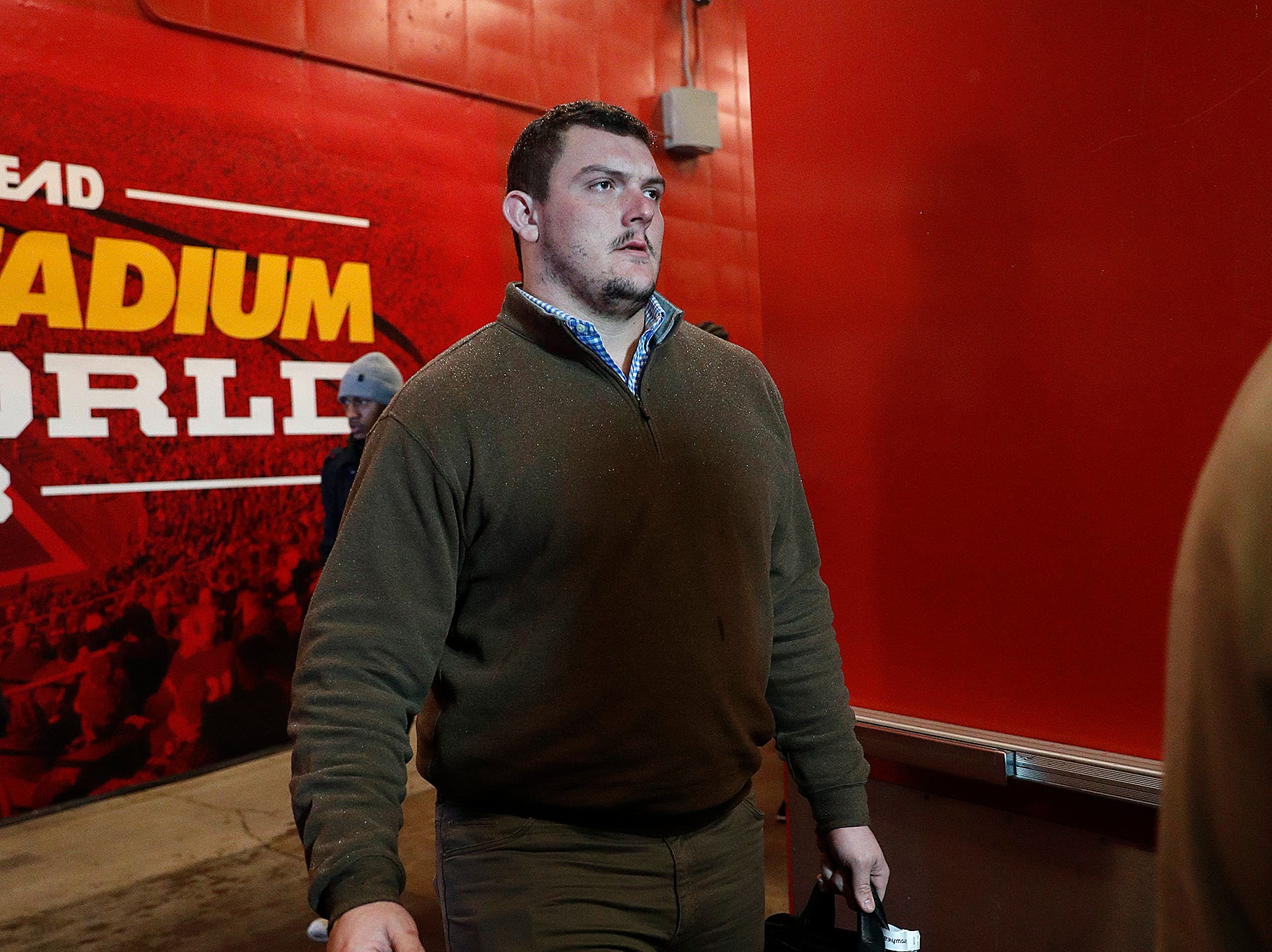 Indianapolis Colts center Ryan Kelly (78) and the Indianapolis Colts arrive for their game against the Kansas City Chiefs at Arrowhead Stadium in Kansas City, MO., on Saturday, Jan. 12, 2019.