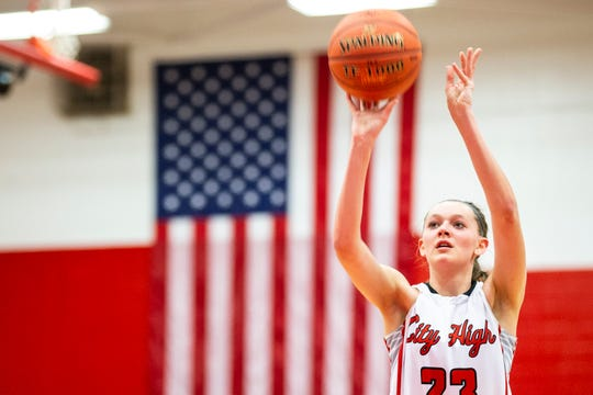 Iowa City High's Aubrey Joens (23) shoots a free-throw during a Class 5A girls basketball game on Friday, Jan. 11, 2019, at City High School in Iowa City, Iowa.