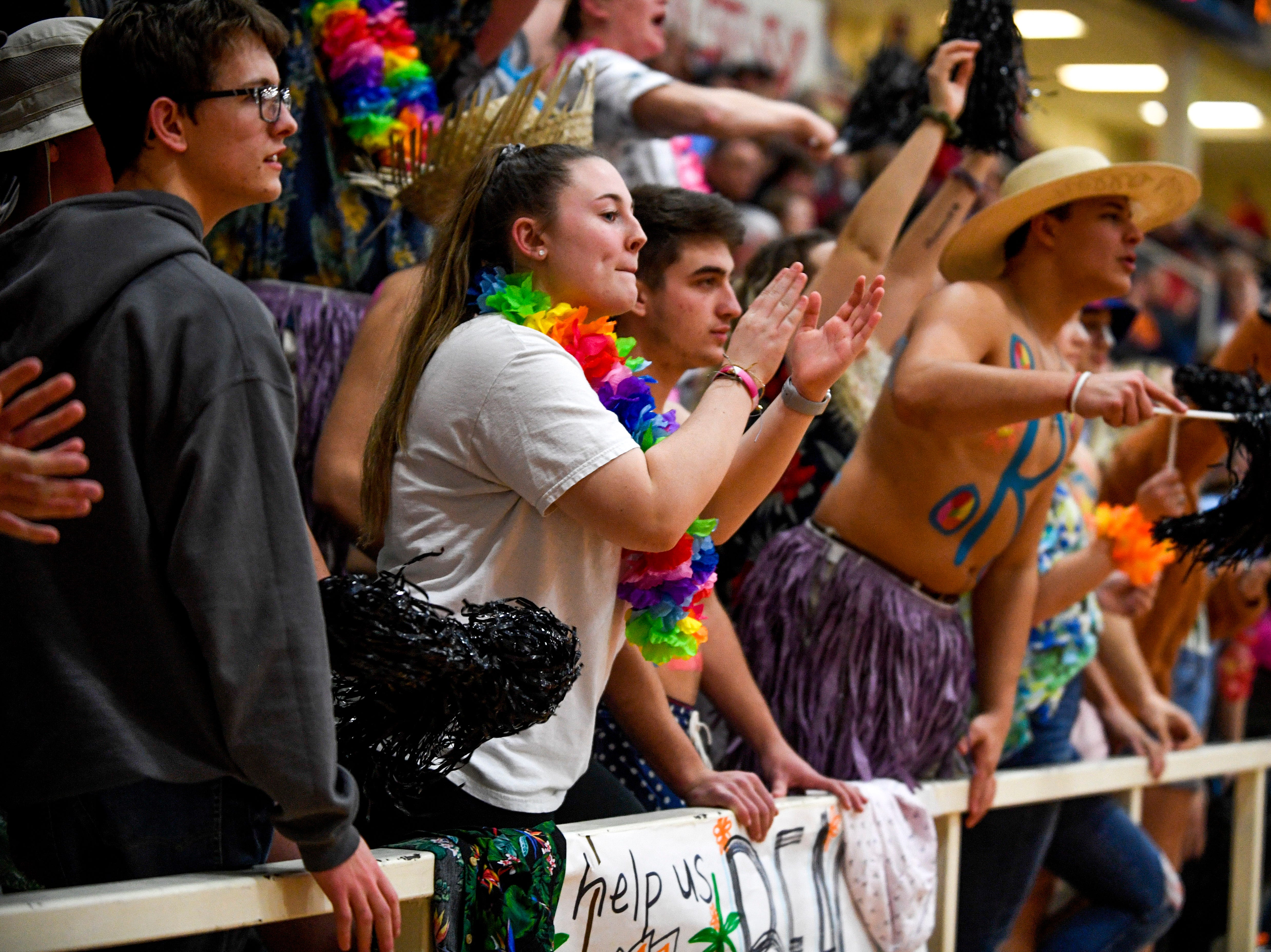 Gibson County students cheer from the stands in a TSSAA girls basketball game between Gibson County and Trinity Christian Academy at Gibson County High School in Dyer, Tenn., on Friday, Jan. 11, 2019.