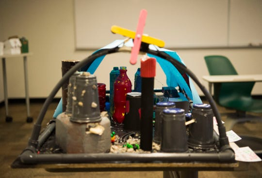 A city sits ready to be judged in DiscoverE's Future City Competition, which asks middle school students to design and build tabletop versions of cities of the future, at the John D. Tickle engineering building on University of Tennessee's campus Saturday, Jan. 12, 2019.