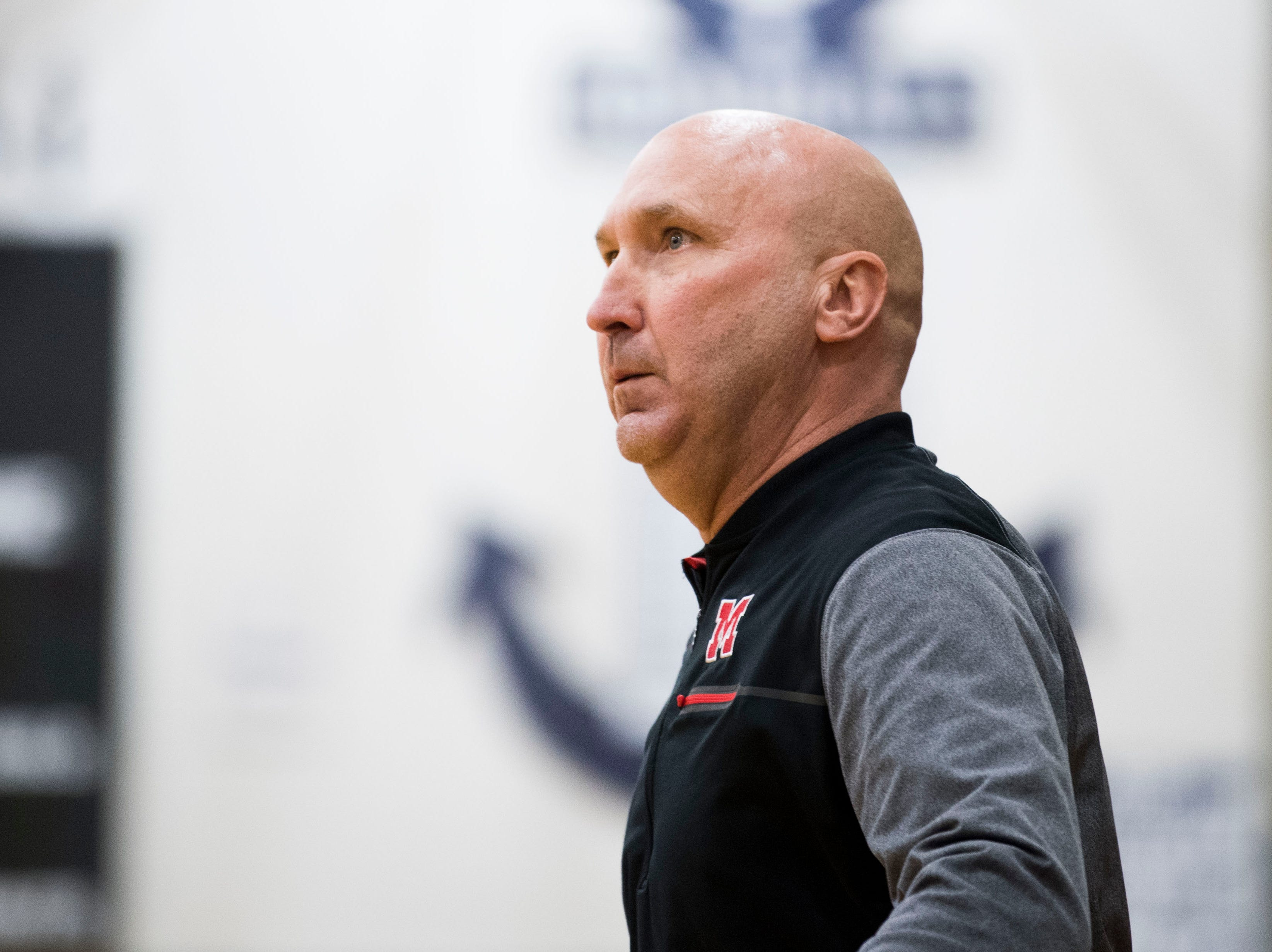 Maryville coach Scott West watches the game during a high school basketball game between Maryville and Farragut at Farragut, Friday, Jan. 11, 2019.