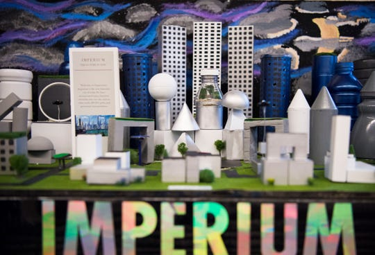 """A city called """"Imperium"""" built by students from Carpenters Middle School sits on display at DiscoverE's Future City Competition, which asks middle school students to design and build tabletop versions of cities of the future, at the John D. Tickle engineering building on University of Tennessee's campus Saturday, Jan. 12, 2019."""