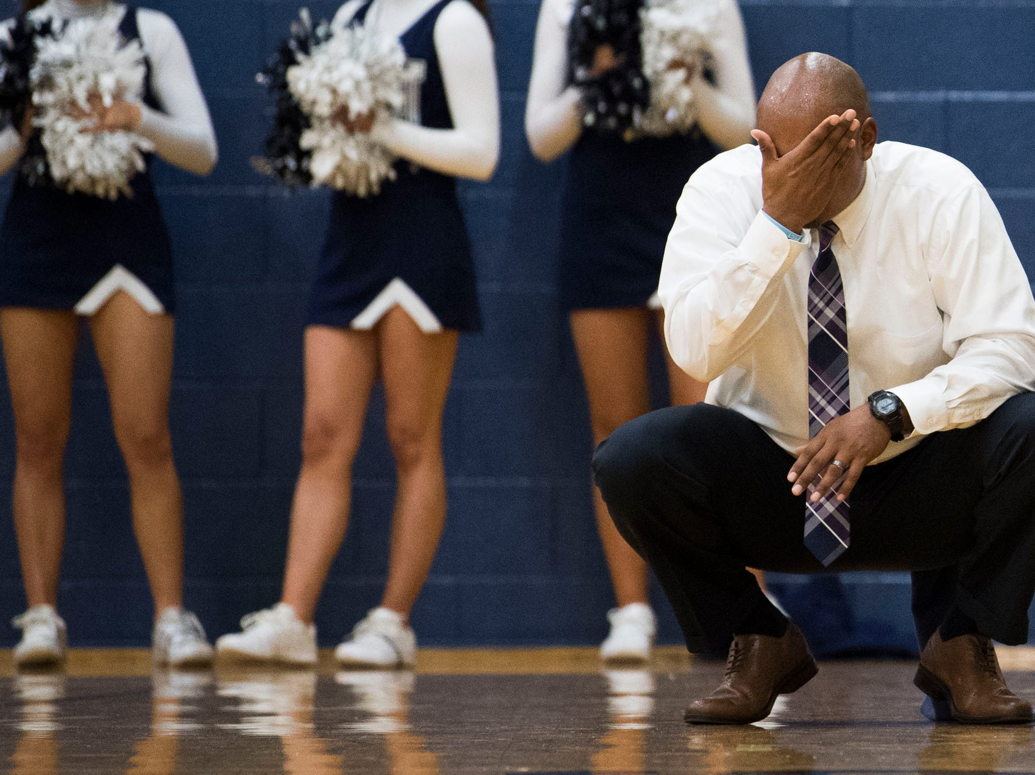 Farragut coach Jon Higgins reacts during a high school basketball game between Maryville and Farragut at Farragut, Friday, Jan. 11, 2019.