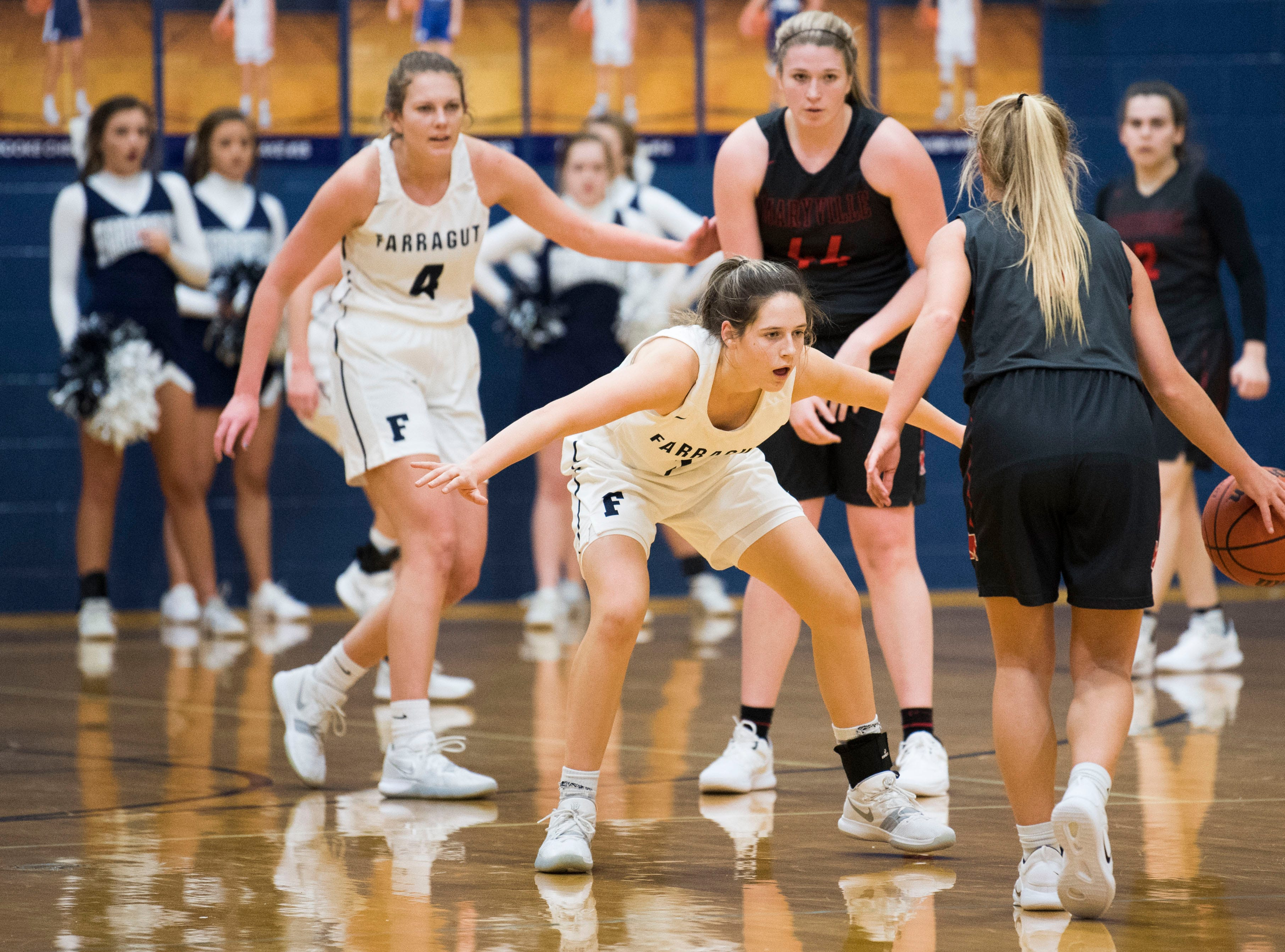 Farragut's Macy Barnes (3) defends a Maryville player during a high school basketball game between Maryville and Farragut at Farragut, Friday, Jan. 11, 2019.