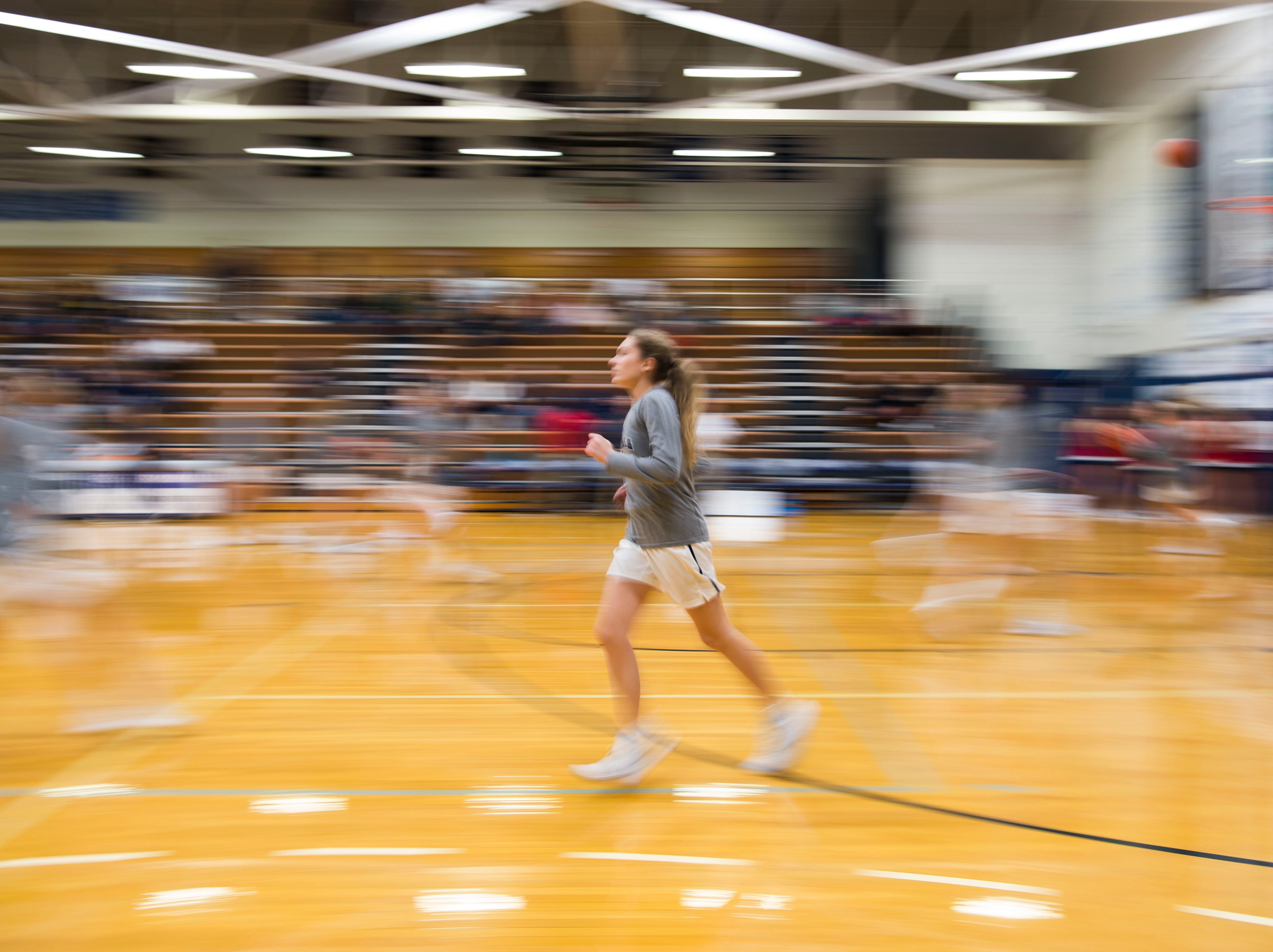 A Farragut player warms up before a high school basketball game between Maryville and Farragut at Farragut, Friday, Jan. 11, 2019.