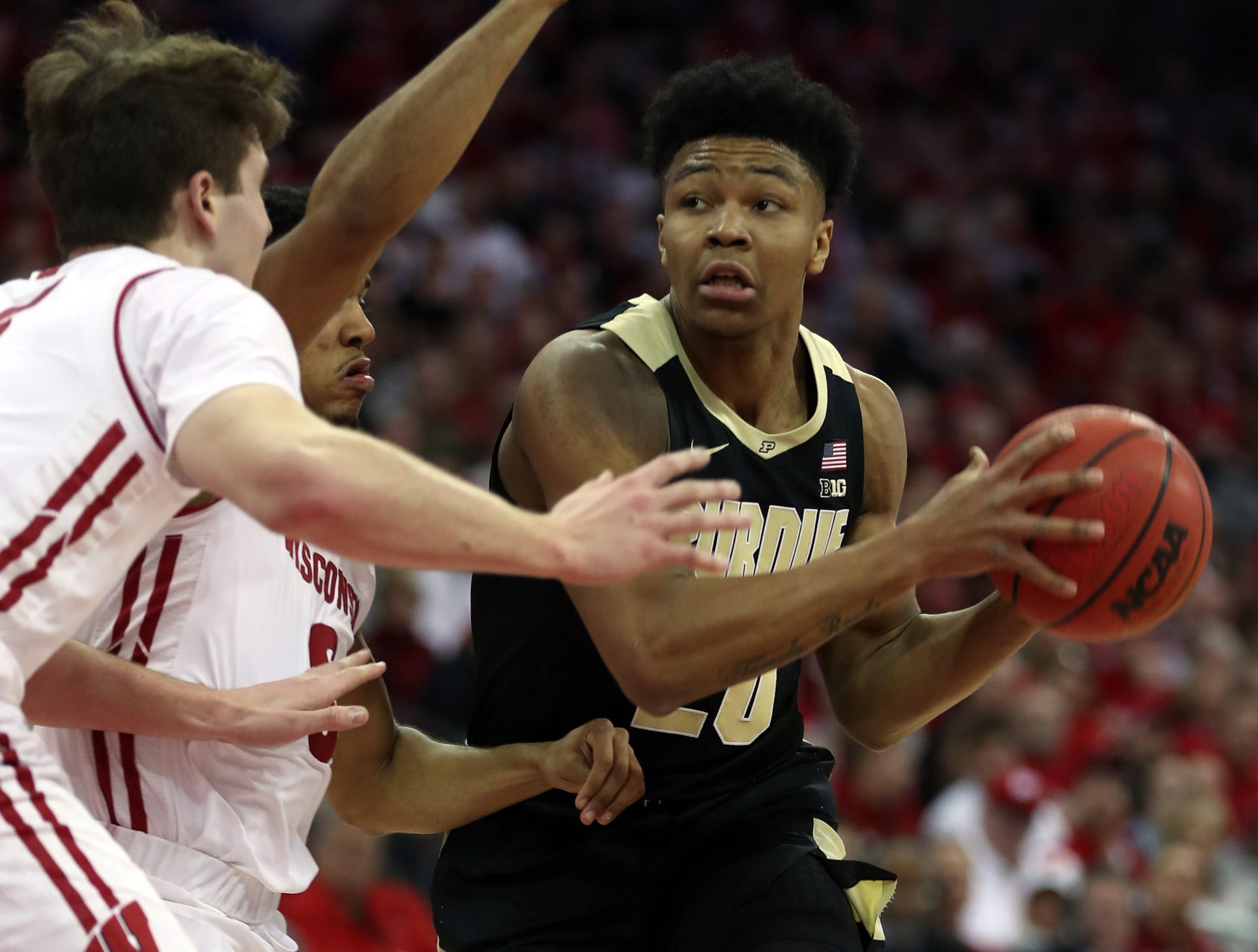 Jan 11, 2019; Madison, WI, USA; Purdue Boilermakers guard Nojel Eastern (20) looks to pass during the game with the Wisconsin Badgers during the first half at the Kohl Center. Mandatory Credit: Mary Langenfeld-USA TODAY Sports