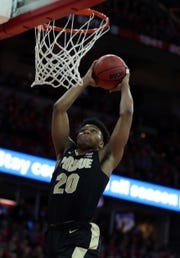 Purdue guard Nojel Eastern goes in for a dunk in the first half at Wisconsin.